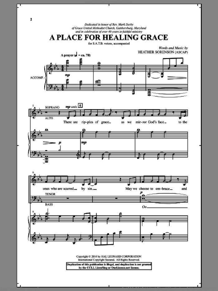 A Place For Healing Grace sheet music for choir (SATB) by Heather Sorenson, intermediate choir (SATB). Score Image Preview.