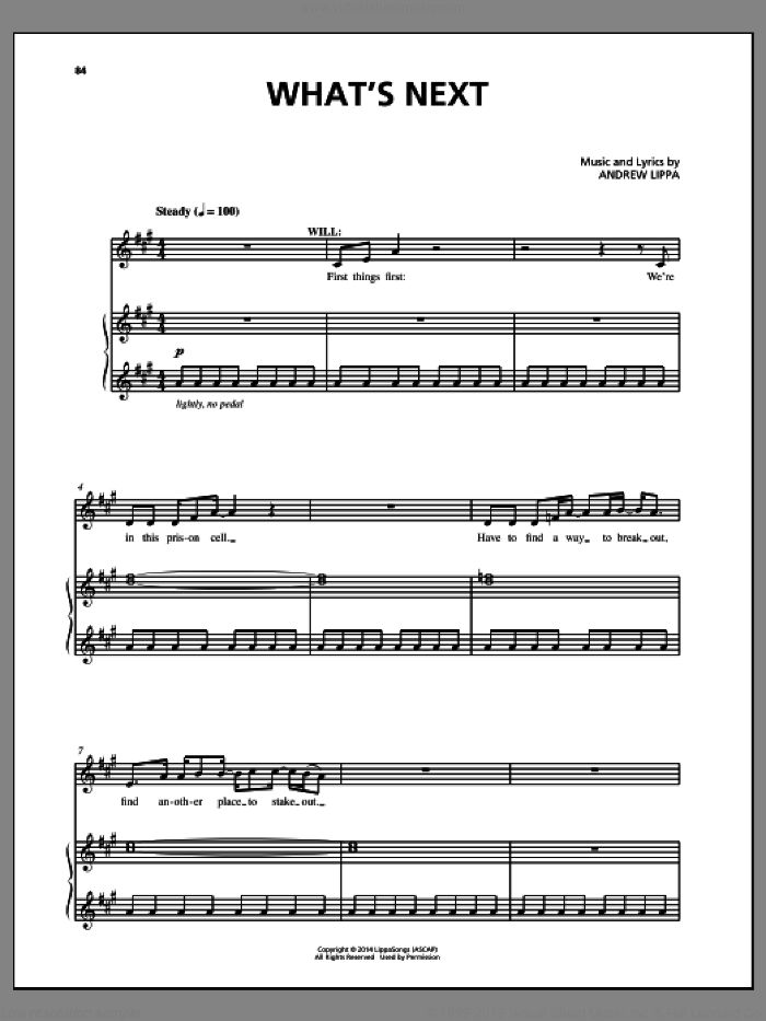 What's Next sheet music for voice, piano or guitar by Andrew Lippa and John August, intermediate skill level