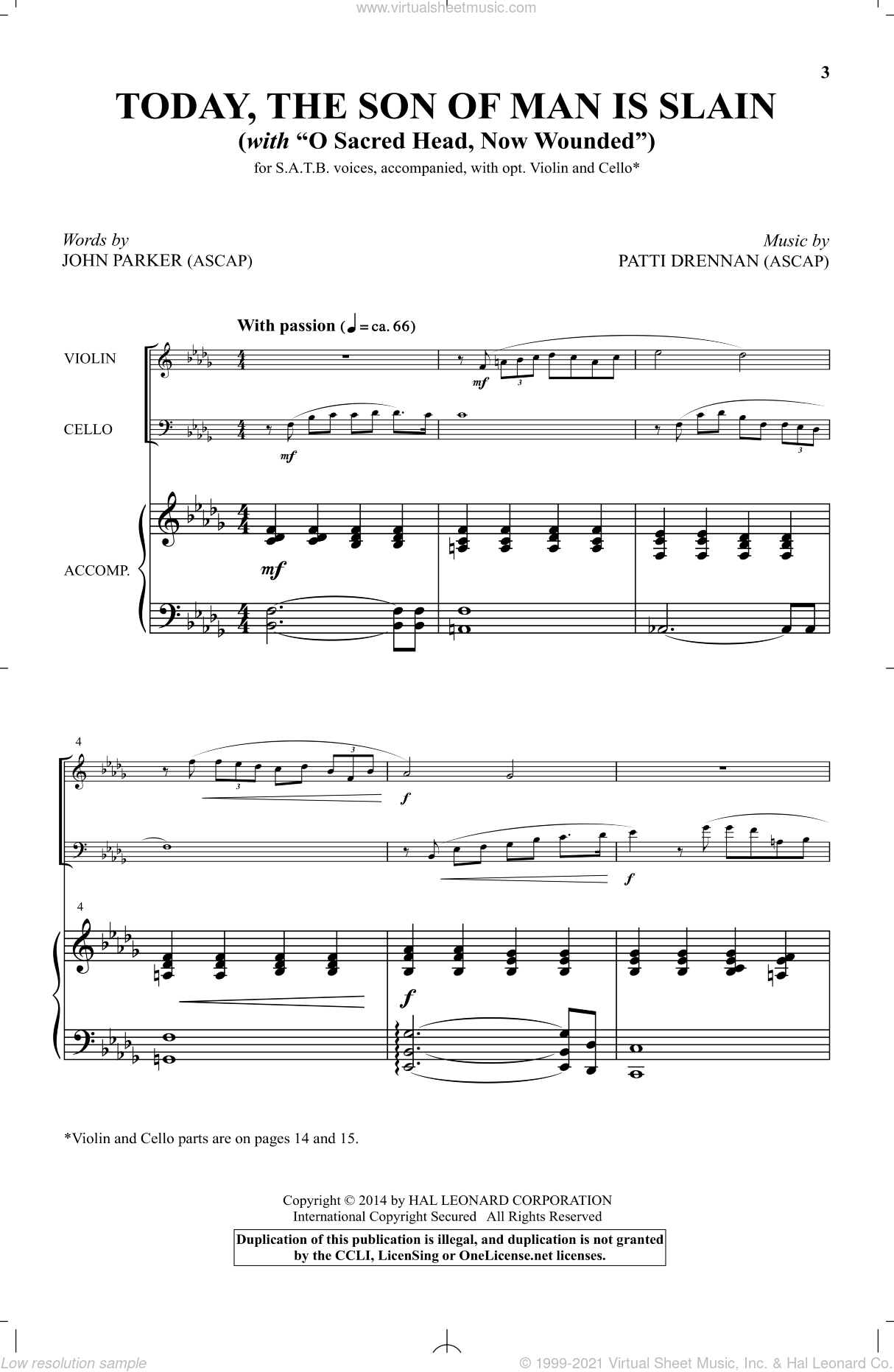 Today, The Son Of Man Is Slain sheet music for choir and piano by Patti Drennan and John Parker. Score Image Preview.