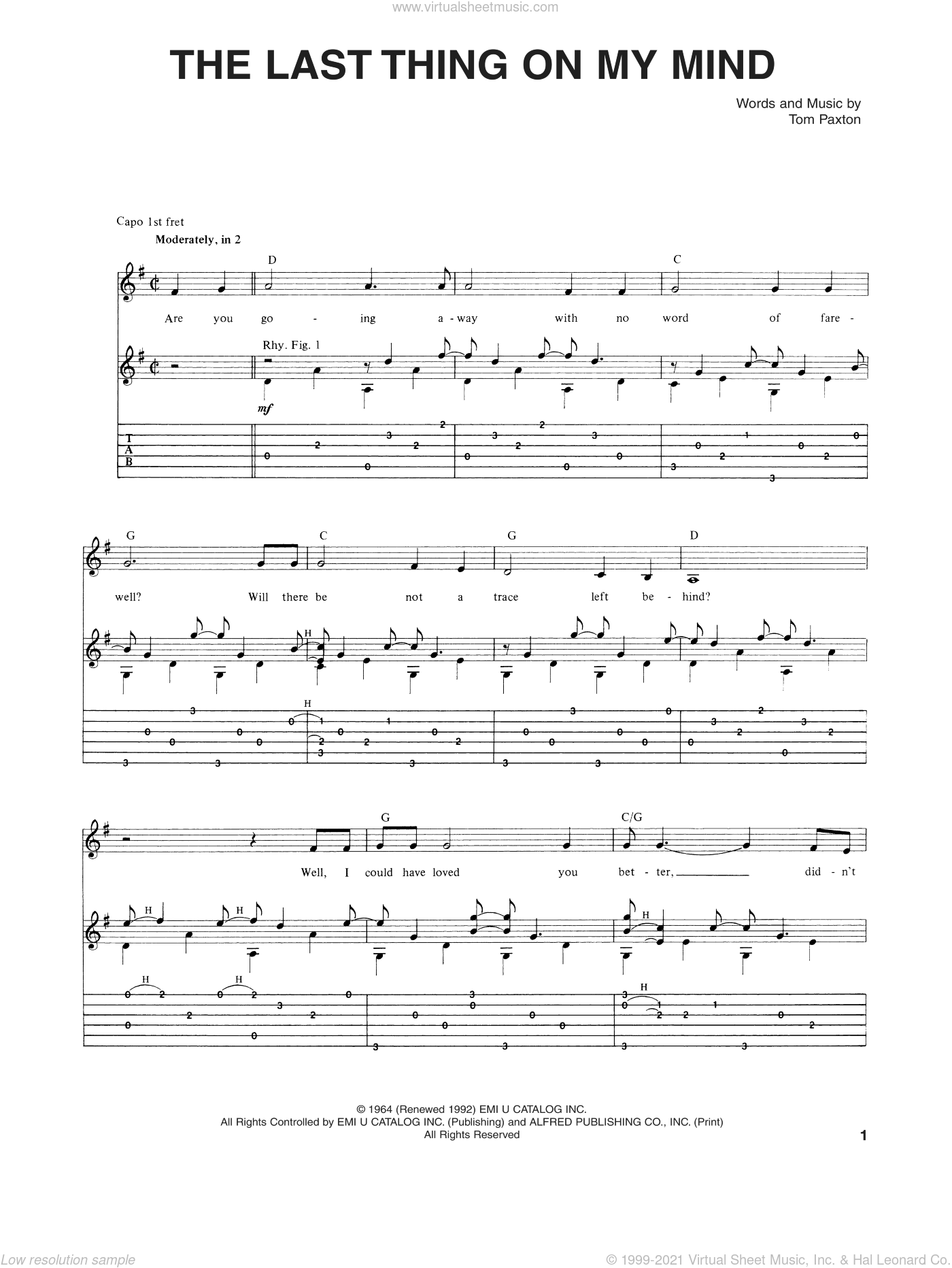 The Last Thing On My Mind sheet music for guitar (tablature) by Tom Paxton, intermediate skill level