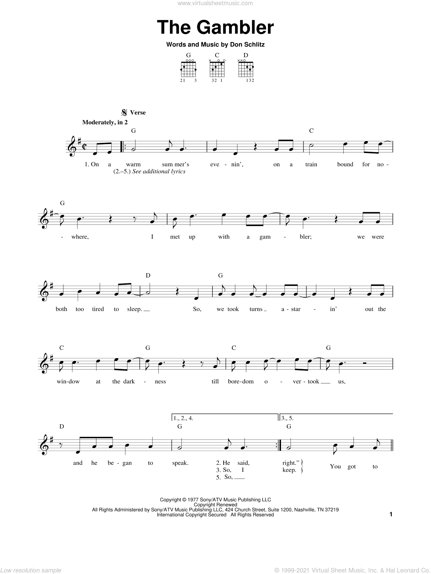 The Gambler sheet music for guitar solo (chords) by Kenny Rogers and Don Schlitz, easy guitar (chords)