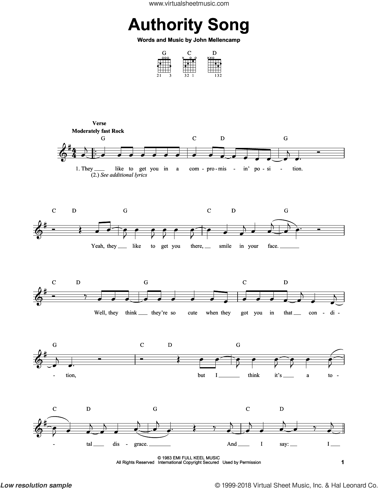 Authority Song sheet music for guitar solo (chords) by John Mellencamp, easy guitar (chords)