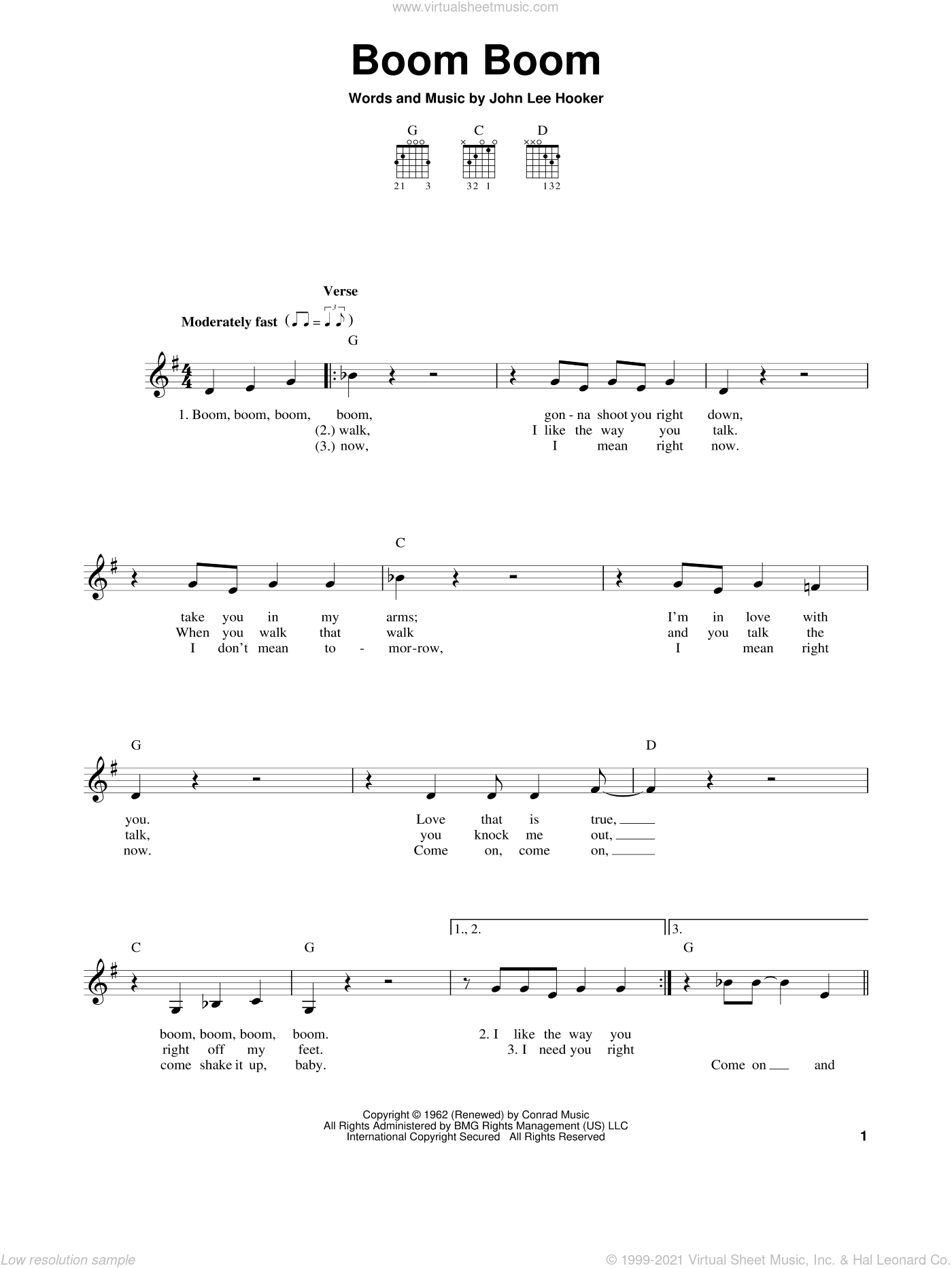 Boom Boom sheet music for guitar solo (chords) by John Lee Hooker, Big Head Todd & The Monsters, Eric Clapton and The Animals, easy guitar (chords)