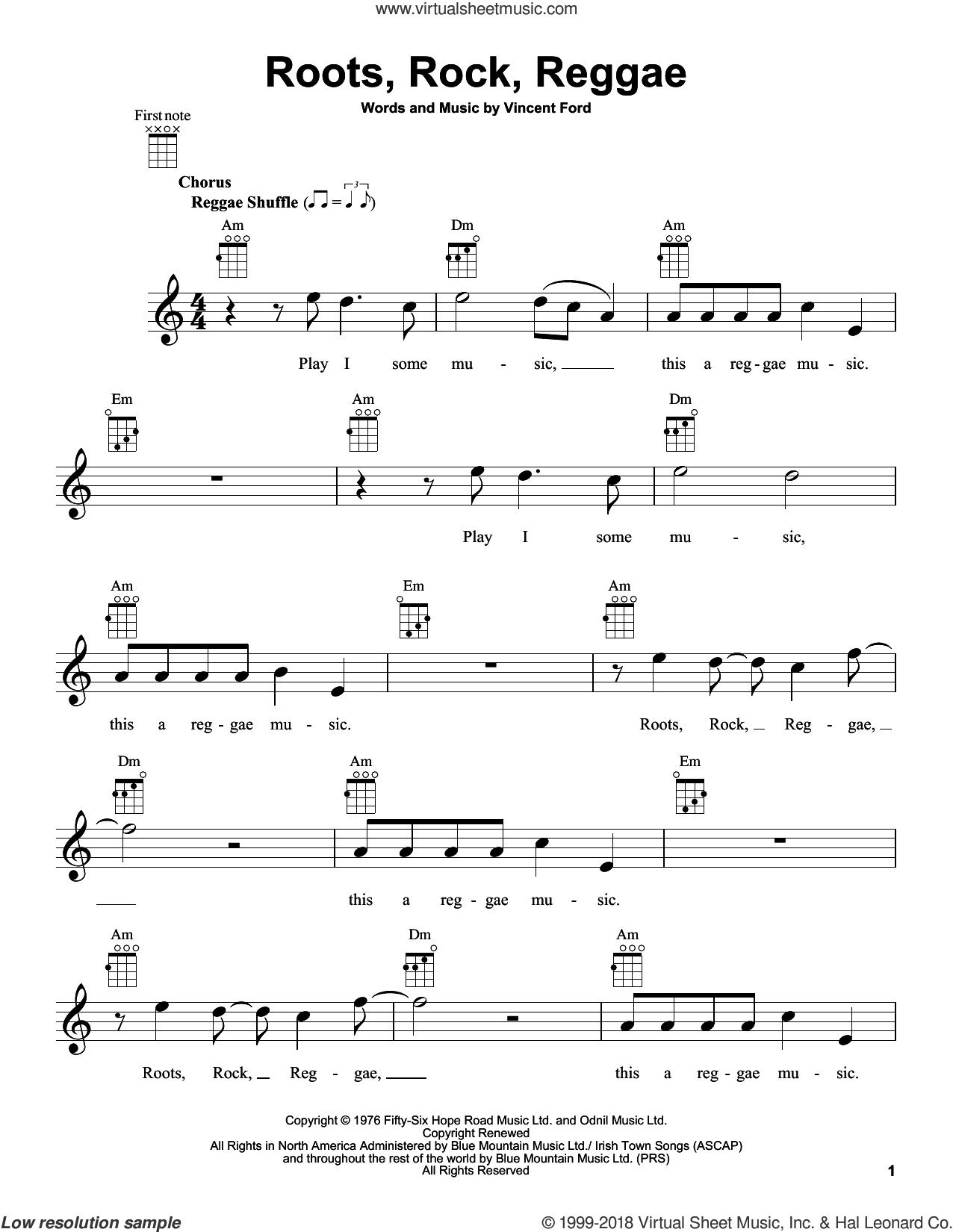 Roots, Rock, Reggae sheet music for ukulele by Bob Marley and Vincent Ford, intermediate skill level