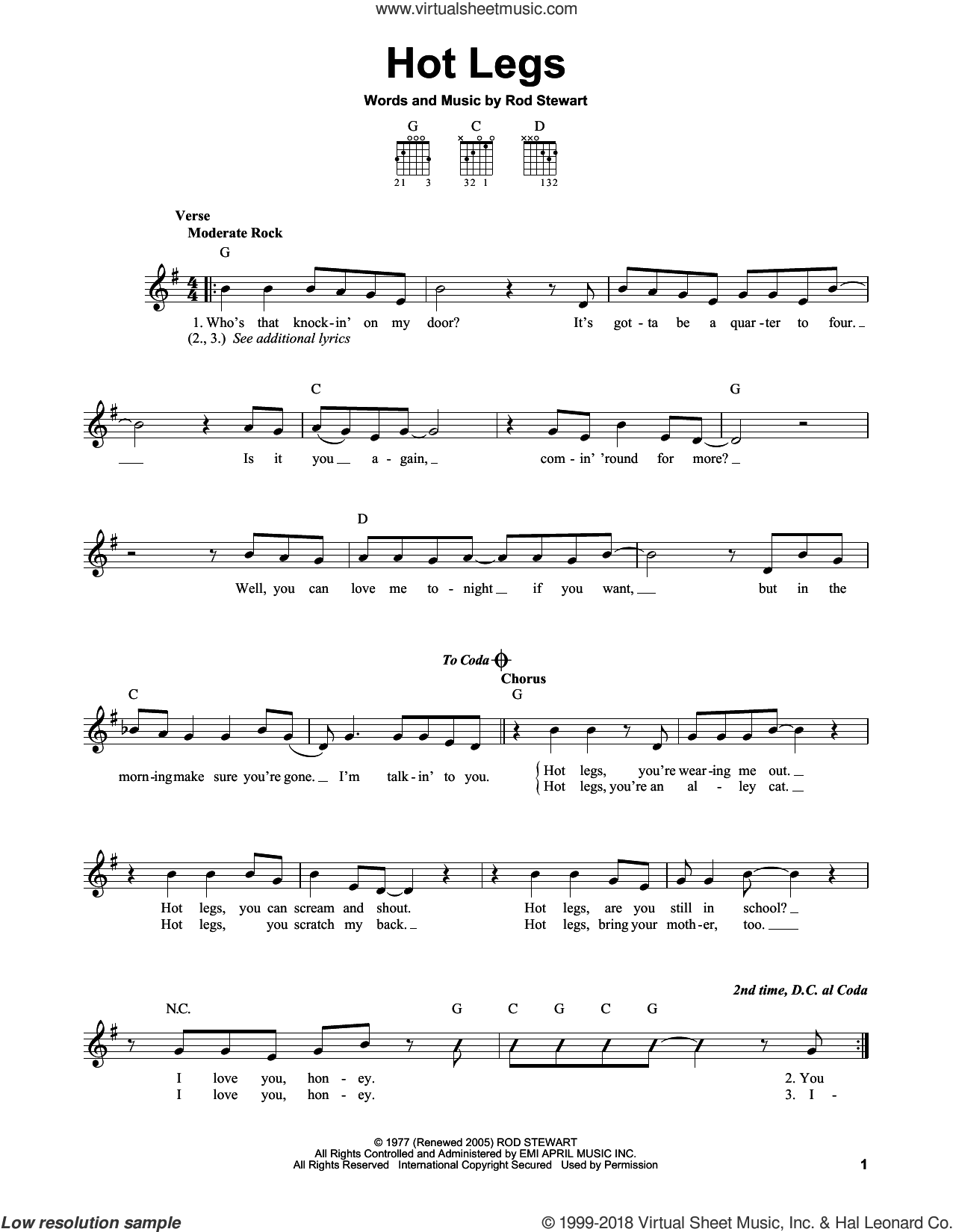 Hot Legs sheet music for guitar solo (chords) by Rod Stewart, easy guitar (chords)