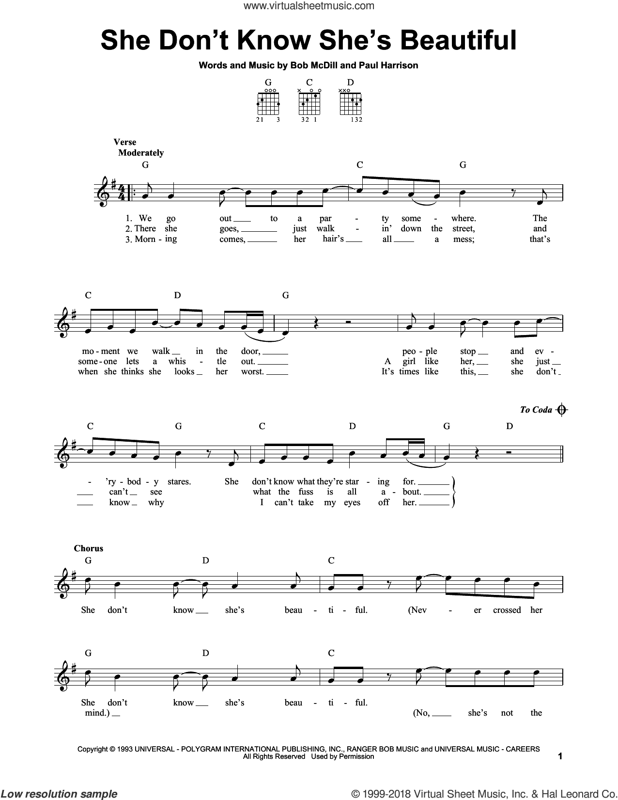 She Don't Know She's Beautiful sheet music for guitar solo (chords) by Sammy Kershaw, Bob McDill and Paul Harrison, easy guitar (chords)