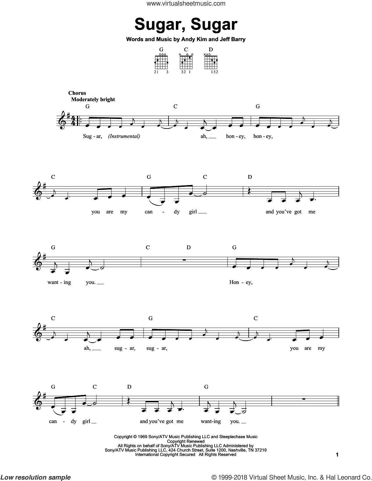 Sugar, Sugar sheet music for guitar solo (chords) by Wilson Pickett, The Archies, Andy Kim and Jeff Barry, easy guitar (chords)