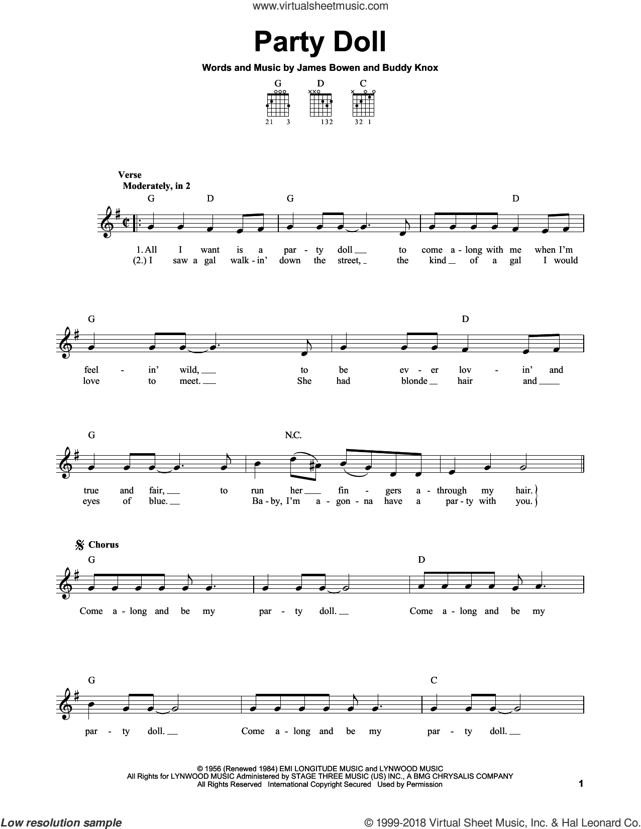 Party Doll sheet music for guitar solo (chords) by James Bowen and Buddy Knox. Score Image Preview.