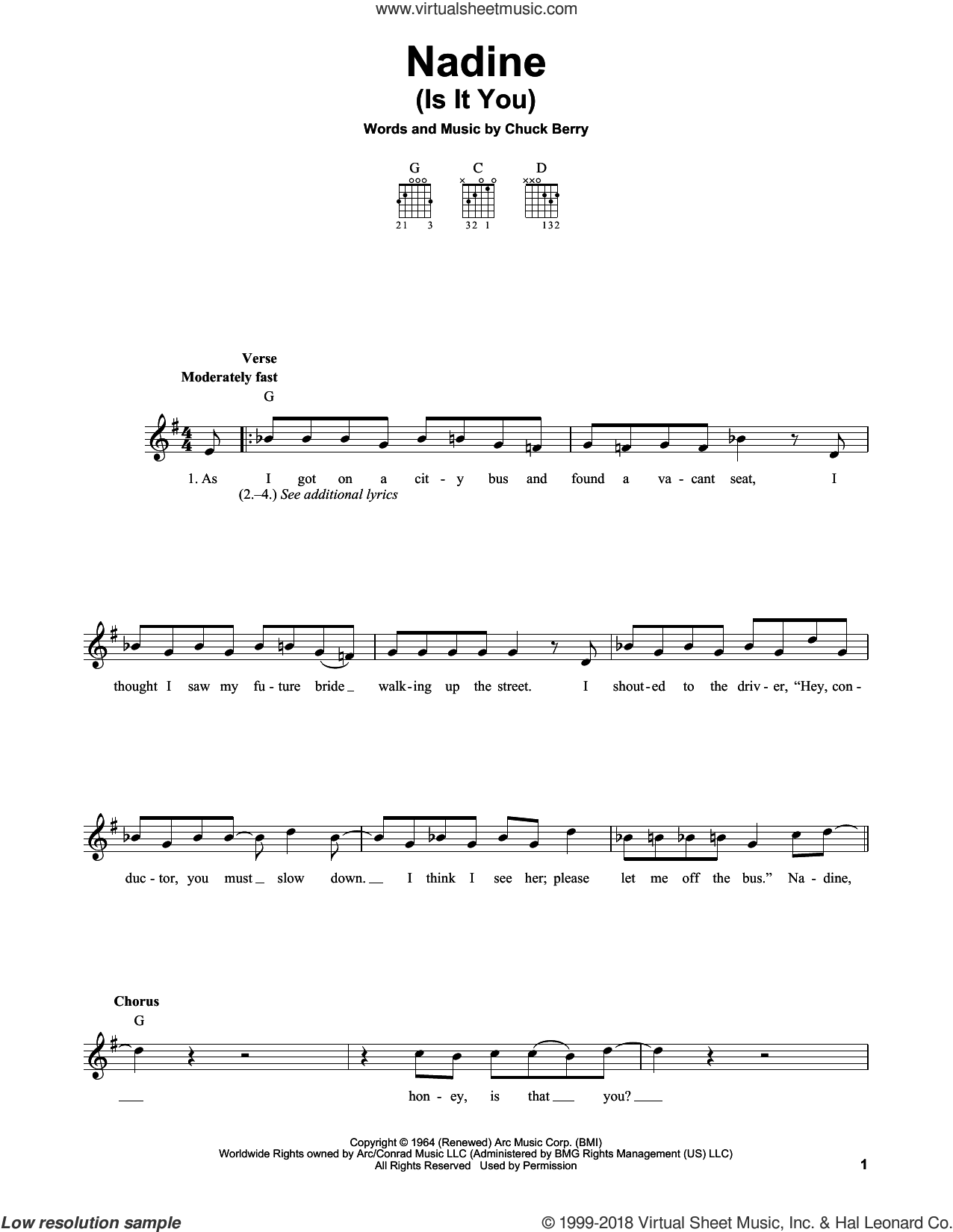 Nadine (Is It You) sheet music for guitar solo (chords) by Chuck Berry, easy guitar (chords)