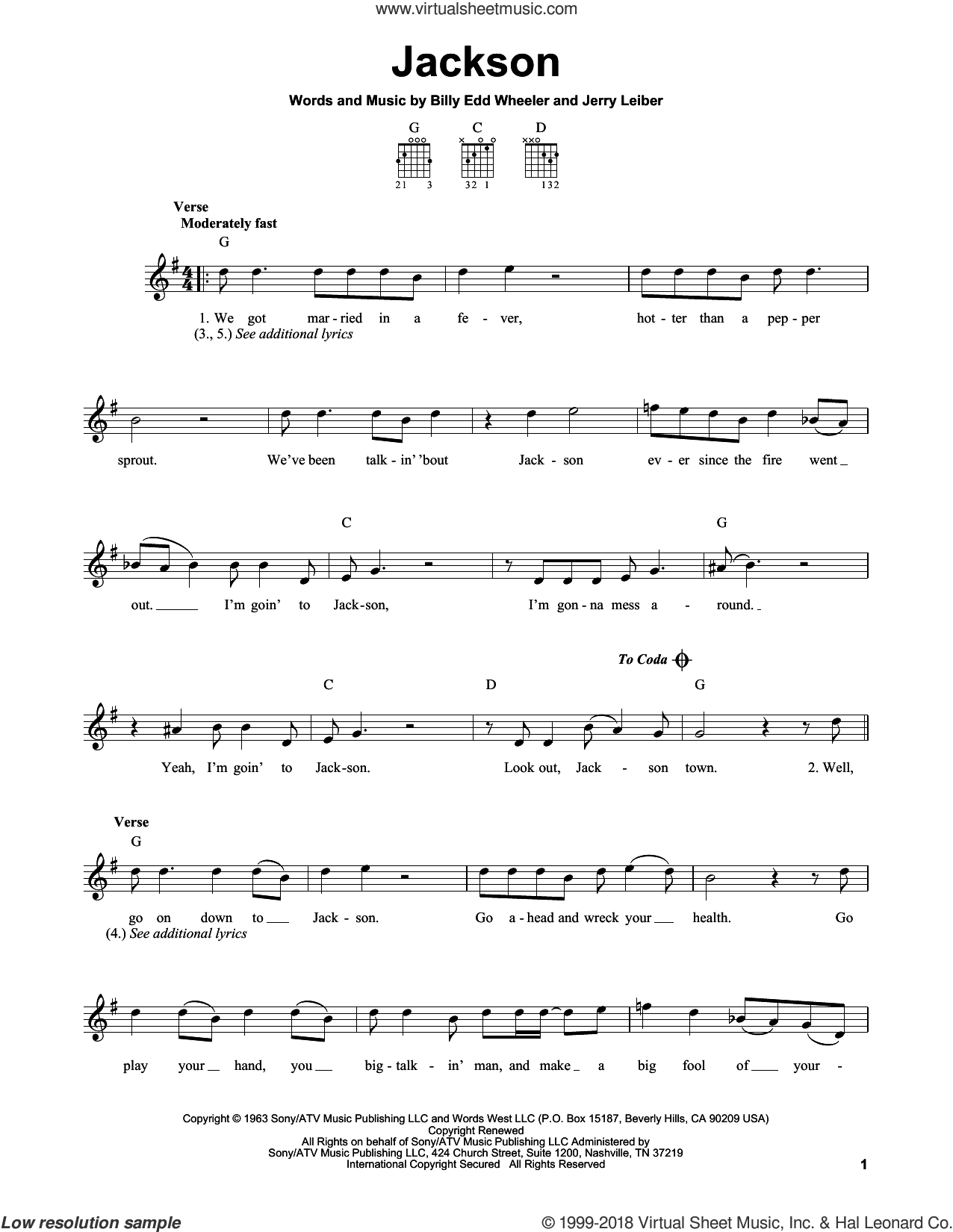 Jackson sheet music for guitar solo (chords) by Johnny Cash & June Carter, Nancy Sinatra & Lee Hazelwood, Billy Edd Wheeler and Jerry Leiber, easy guitar (chords)