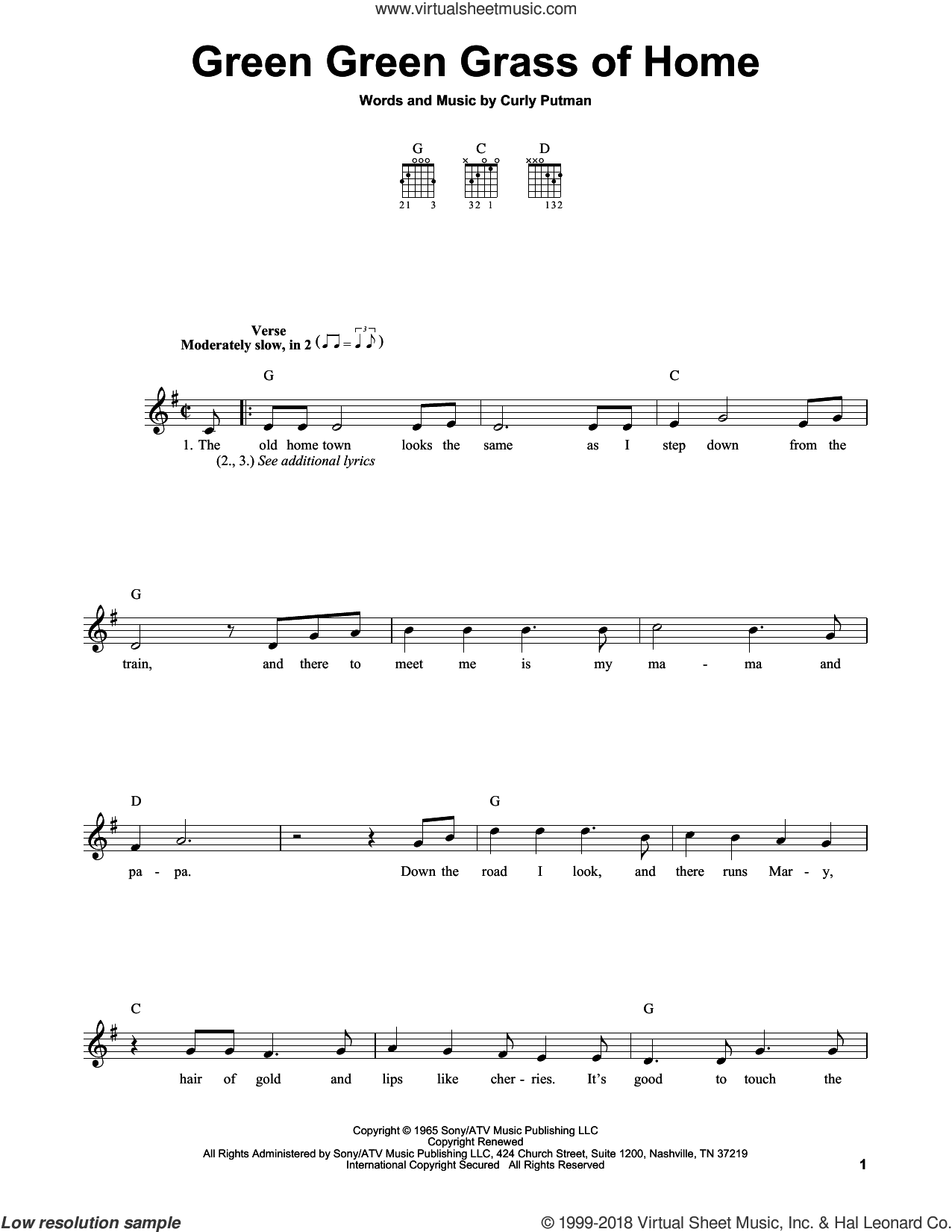 Green Green Grass Of Home sheet music for guitar solo (chords) by Porter Wagoner, Elvis Presley, Tom Jones and Curly Putman, easy guitar (chords)