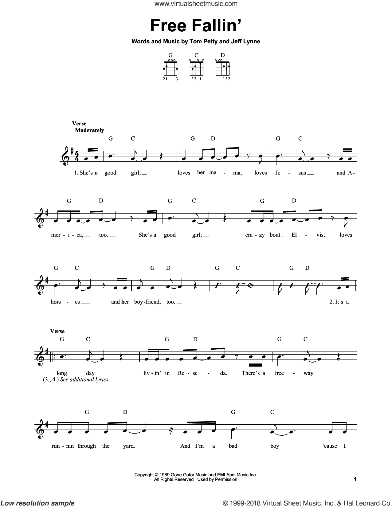 Free Fallin' sheet music for guitar solo (chords) by Tom Petty, John Mayer and Jeff Lynne, easy guitar (chords)