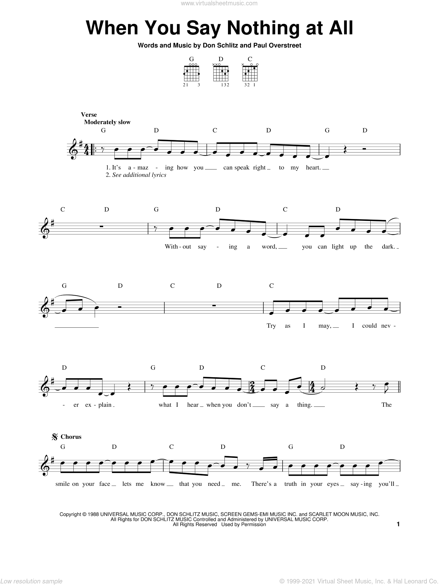 When You Say Nothing At All sheet music for guitar solo (chords) by Alison Krauss, Alison Krauss & Union Station, Keith Whitley, Don Schlitz and Paul Overstreet, easy guitar (chords). Score Image Preview.