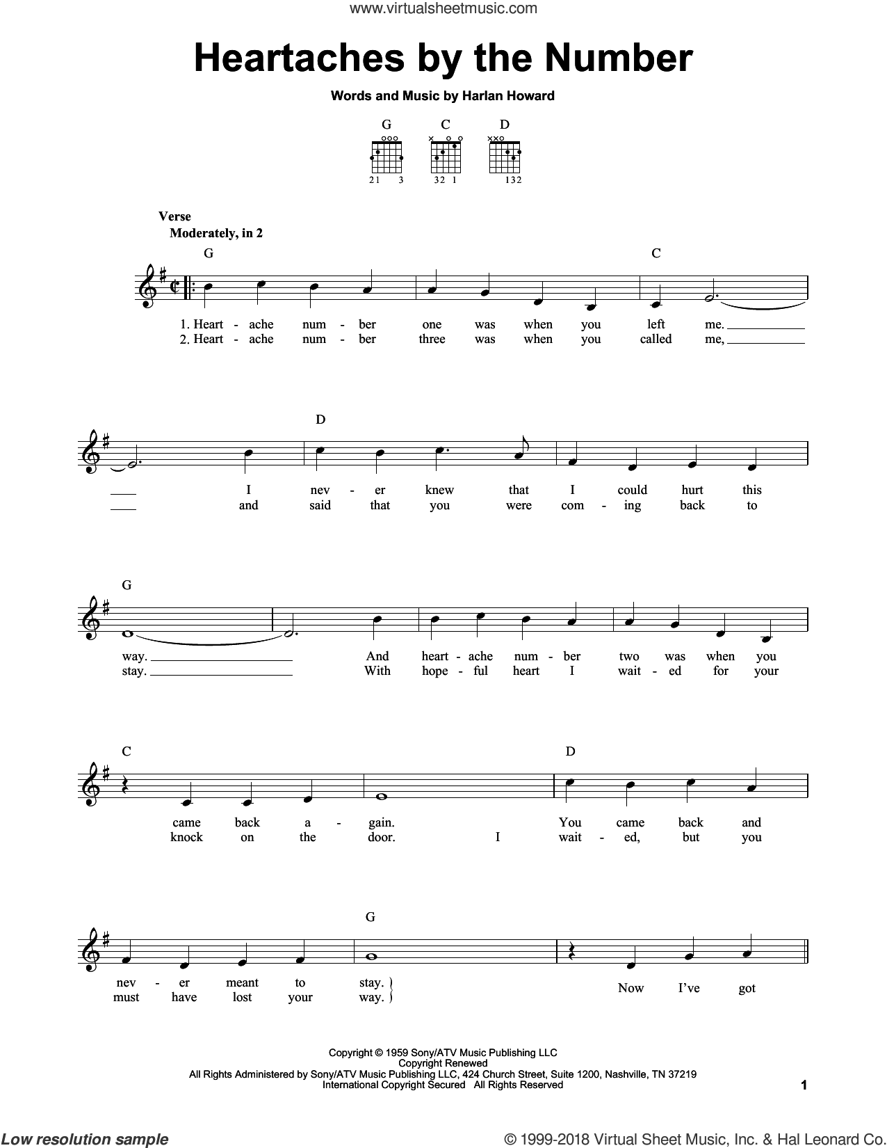 Heartaches By The Number sheet music for guitar solo (chords) by Ray Price, Guy Mitchell and Harlan Howard, easy guitar (chords). Score Image Preview.