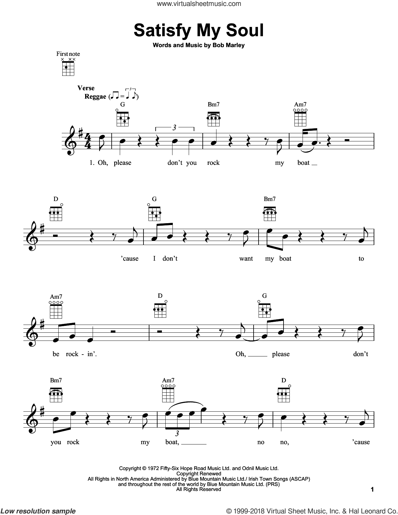 Satisfy My Soul sheet music for ukulele by Bob Marley, intermediate skill level