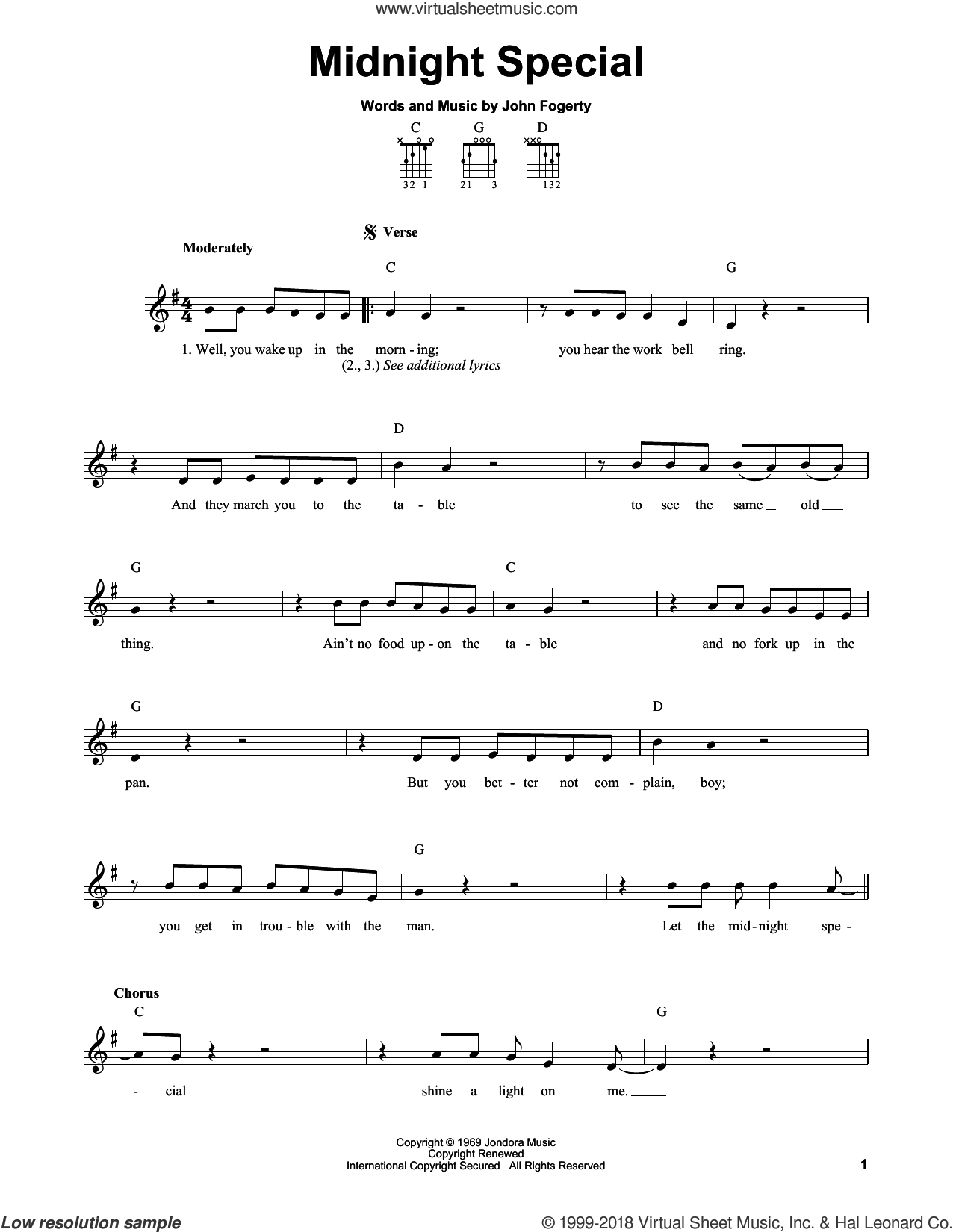 Midnight Special sheet music for guitar solo (chords) by Creedence Clearwater Revival and John Fogerty, easy guitar (chords)
