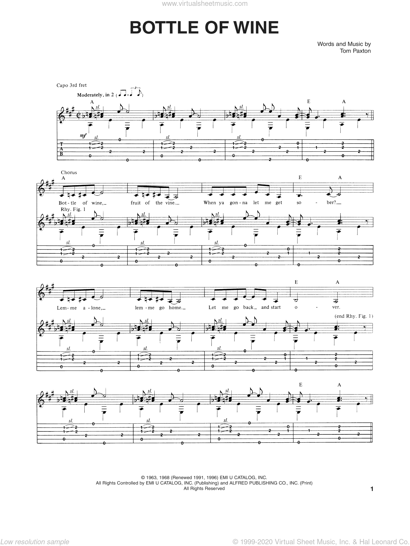 Bottle Of Wine sheet music for guitar (tablature) by Tom Paxton, intermediate skill level
