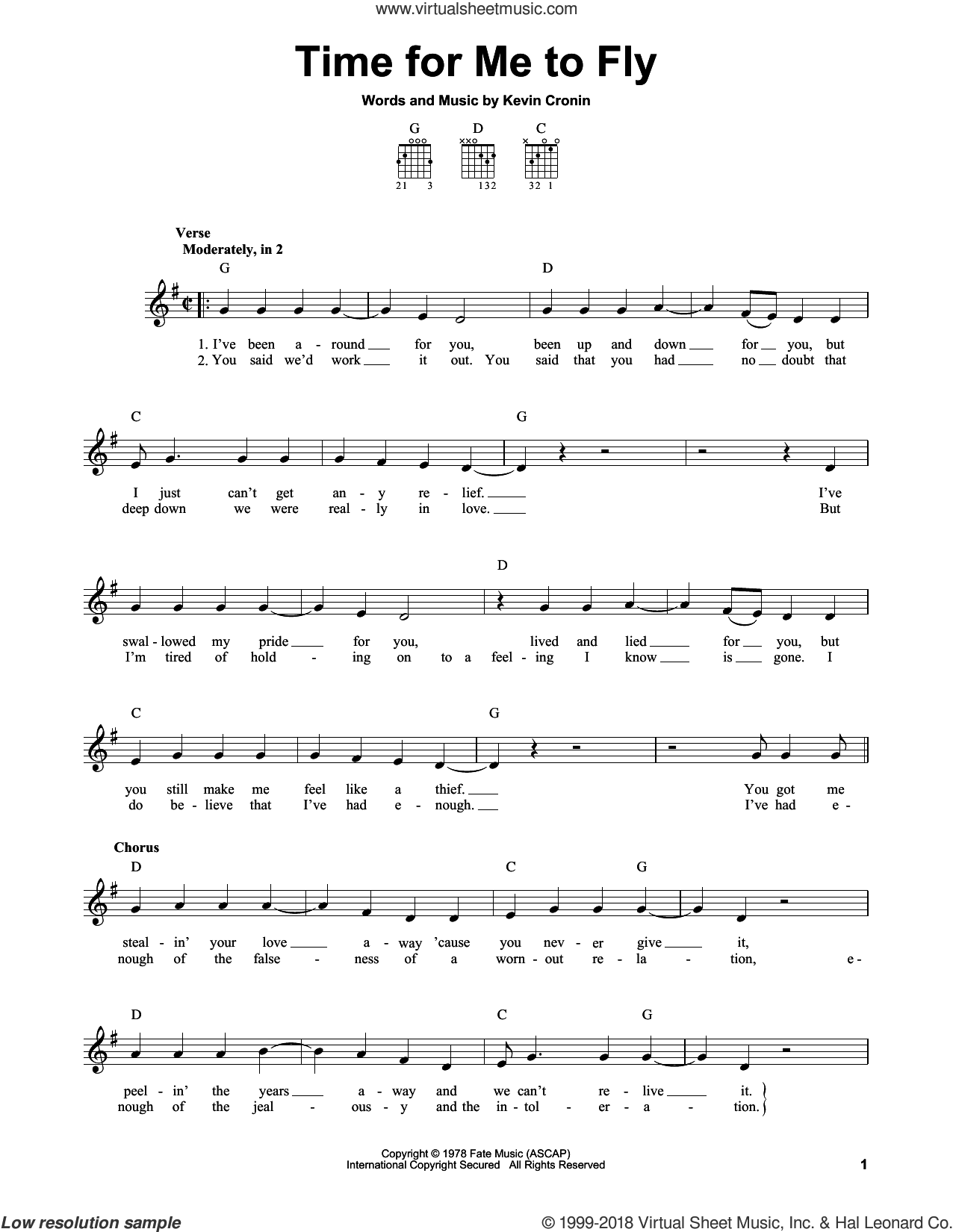 Time For Me To Fly sheet music for guitar solo (chords) by REO Speedwagon and Kevin Cronin, easy guitar (chords)