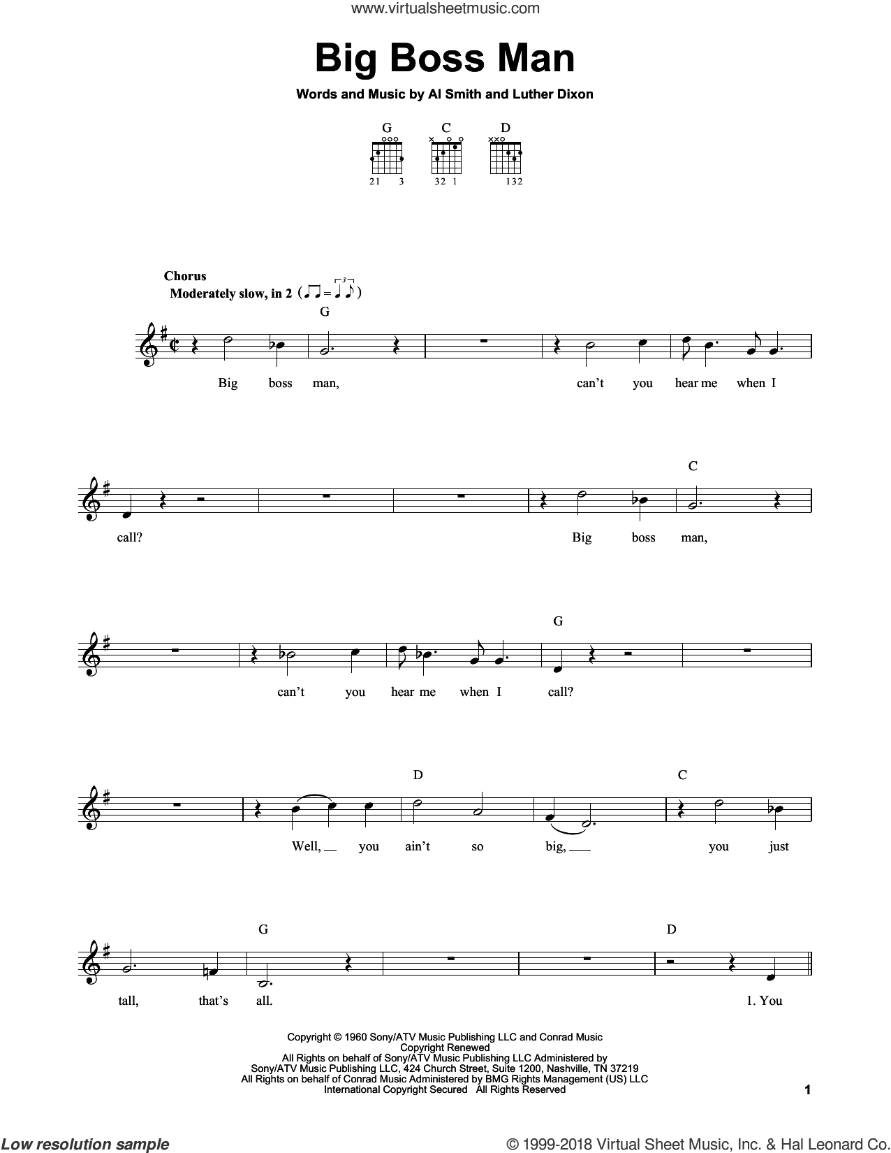 Big Boss Man sheet music for guitar solo (chords) by Elvis Presley and Luther Dixon, easy guitar (chords). Score Image Preview.