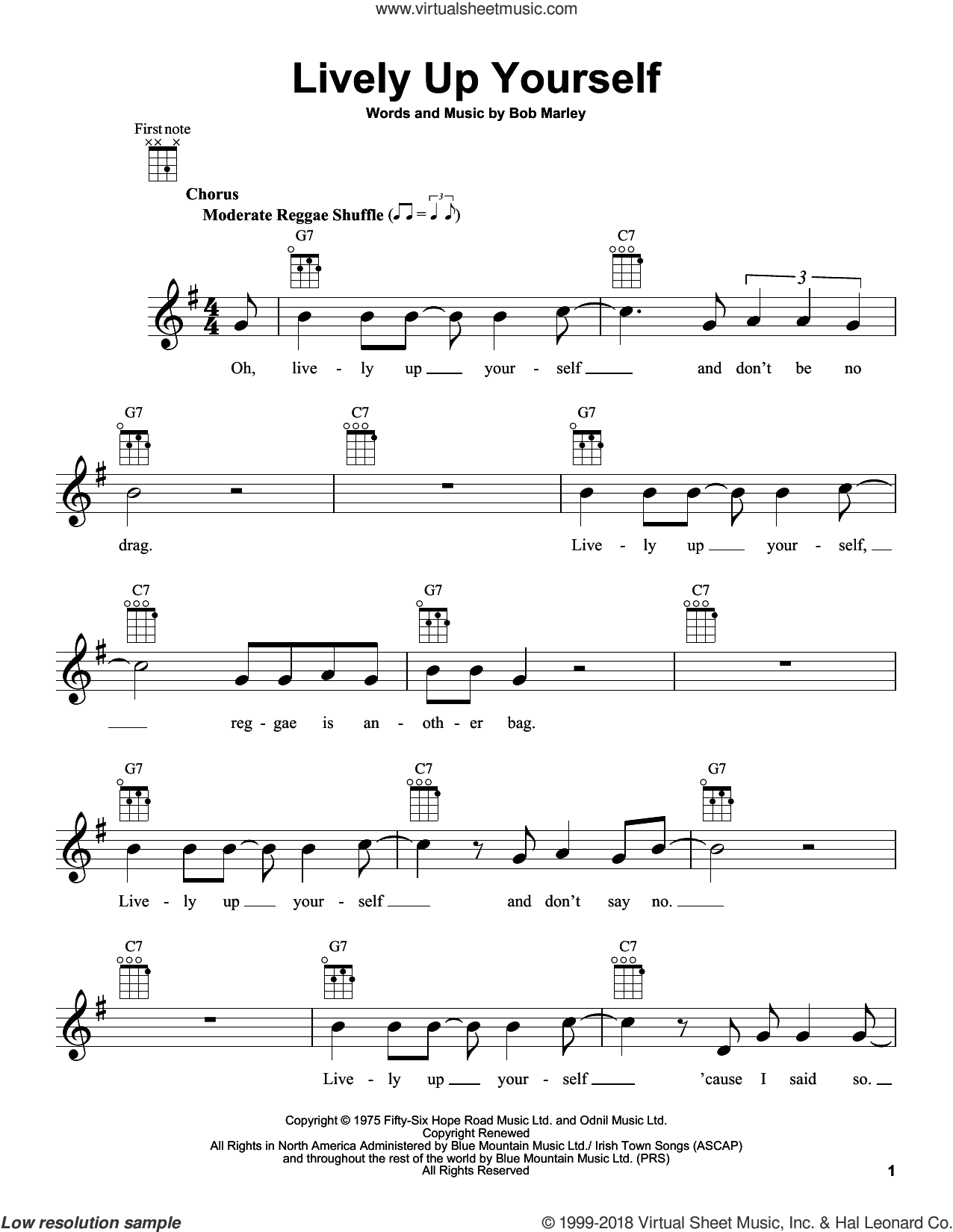 Lively Up Yourself sheet music for ukulele by Bob Marley, intermediate skill level