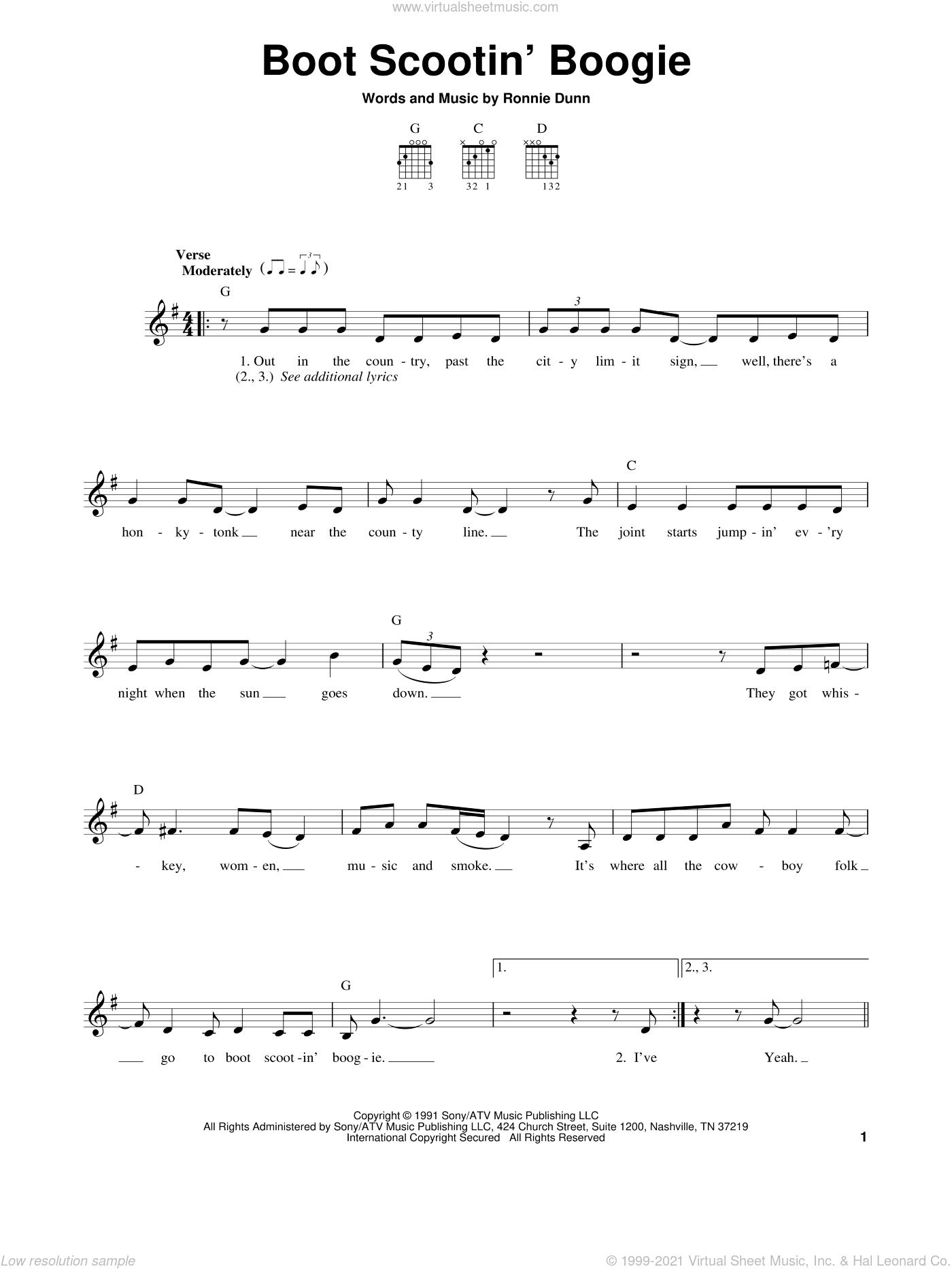 Boot Scootin' Boogie sheet music for guitar solo (chords) by Brooks & Dunn and Ronnie Dunn, easy guitar (chords)