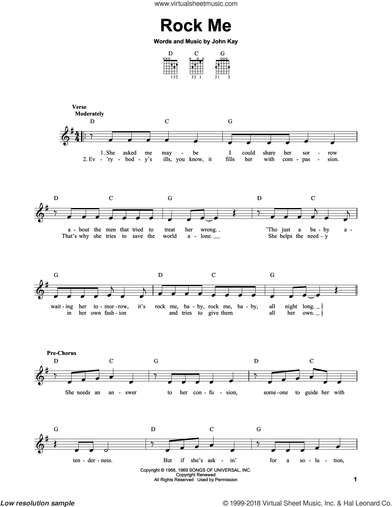 Rock Me sheet music for guitar solo (chords) by Steppenwolf, easy guitar (chords). Score Image Preview.