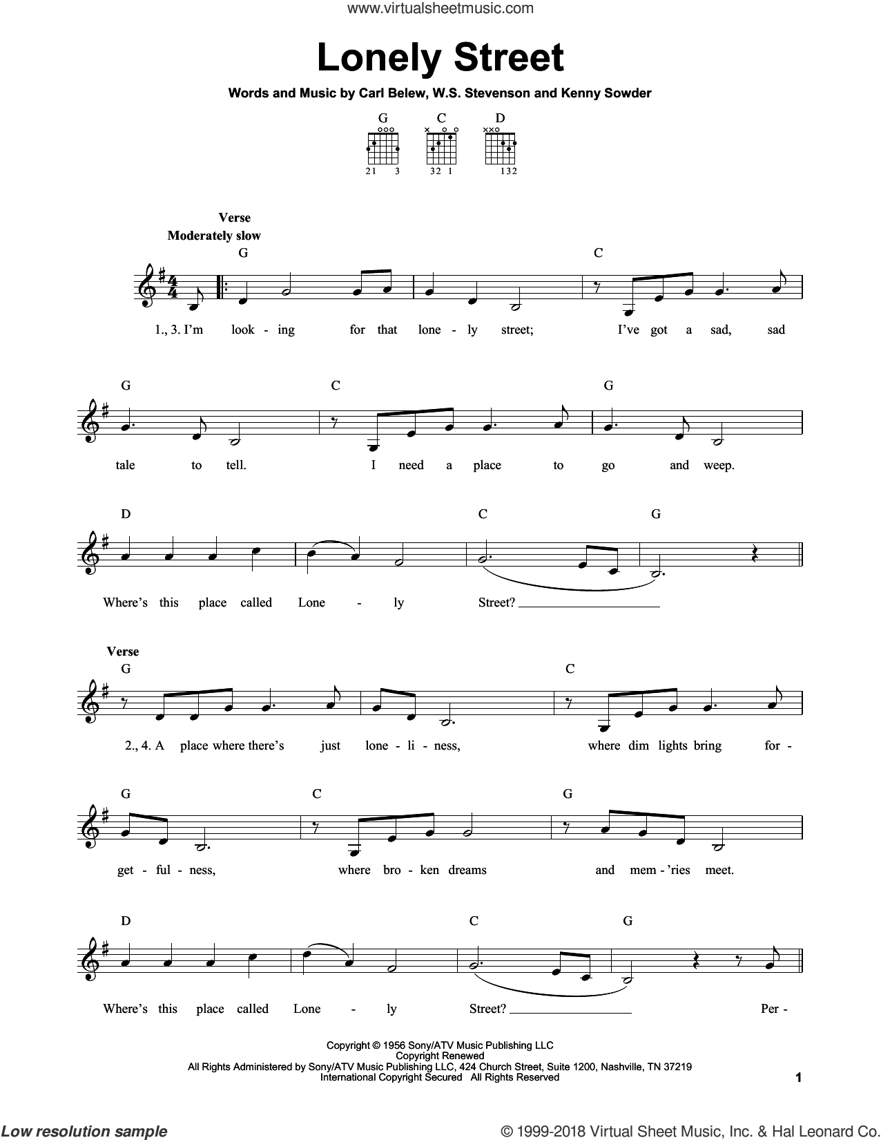 Lonely Street sheet music for guitar solo (chords) by Andy Williams, Carl Belew, Kenny Sowder and William Stevenson, easy guitar (chords)