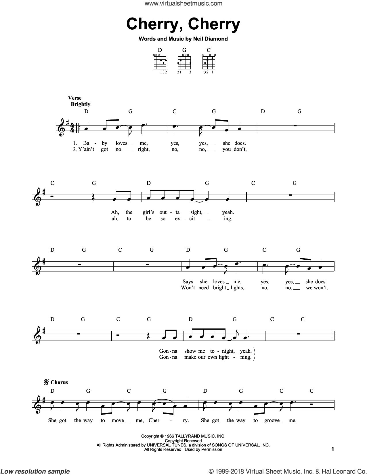 Cherry, Cherry sheet music for guitar solo (chords) by Neil Diamond, easy guitar (chords)