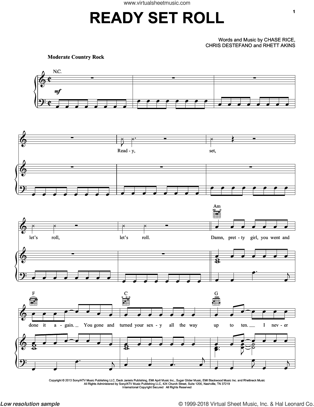 Ready Set Roll sheet music for voice, piano or guitar by Chase Rice, Chris Destefano and Rhett Akins, intermediate skill level