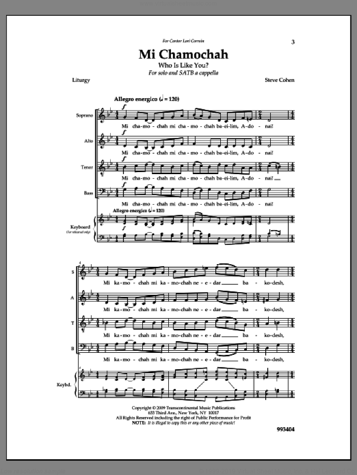 Mi Chamochah sheet music for choir by Steve Cohen, intermediate skill level