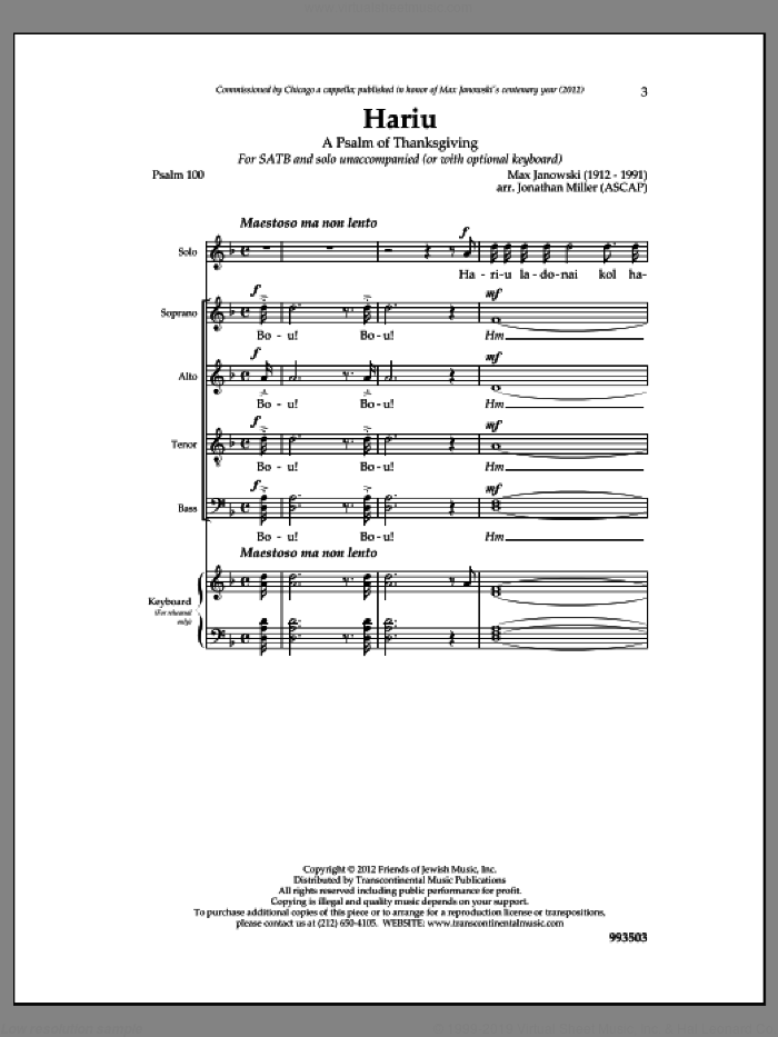 Hariu sheet music for choir by Max Janowski. Score Image Preview.
