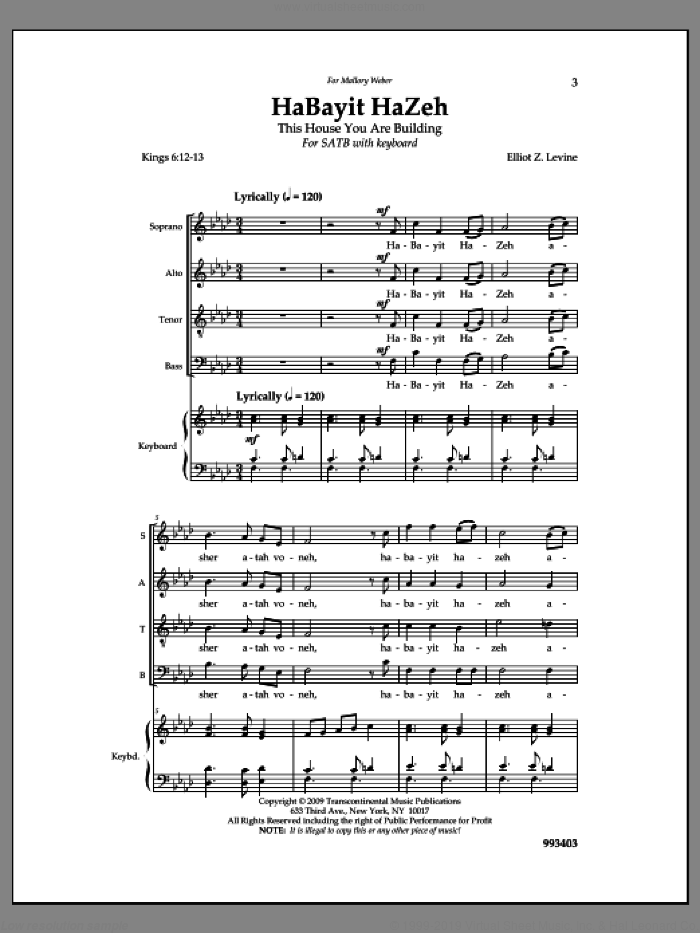 Habayit Hazeh sheet music for choir by Elliot Z. Levine, intermediate. Score Image Preview.