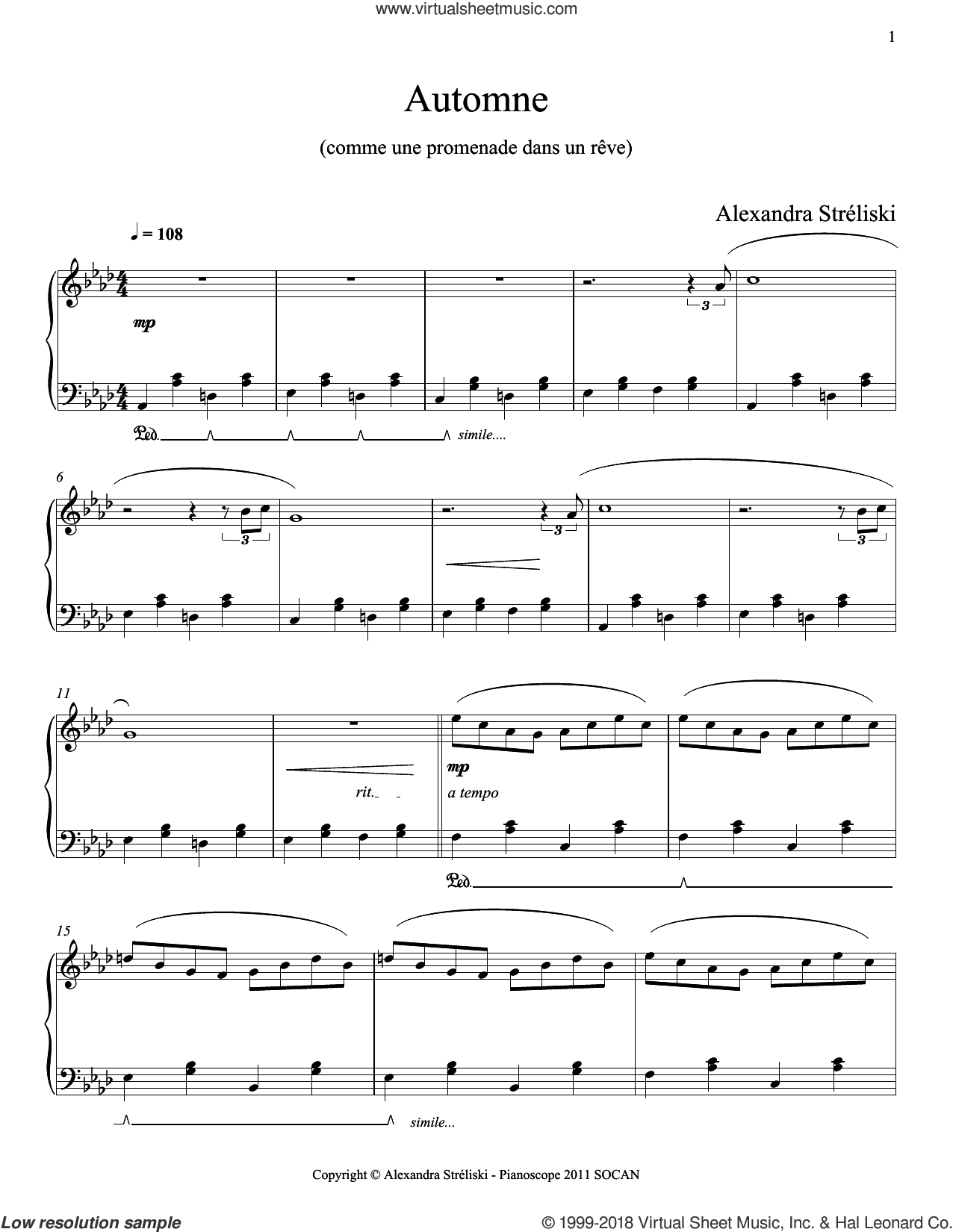 Automne sheet music for piano solo by Alexandra Streliski, classical score, intermediate skill level