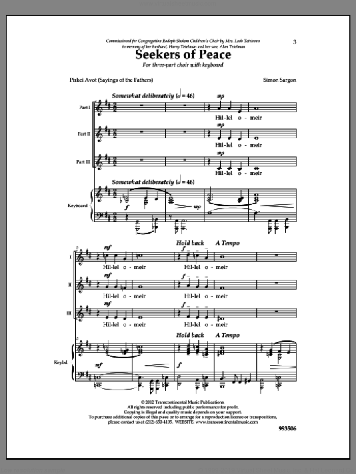 Seekers of Peace sheet music for choir by Simon Sargon. Score Image Preview.