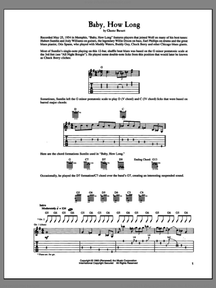 Baby How Long sheet music for guitar (tablature) by Howlin' Wolf and Chester Burnett, intermediate skill level
