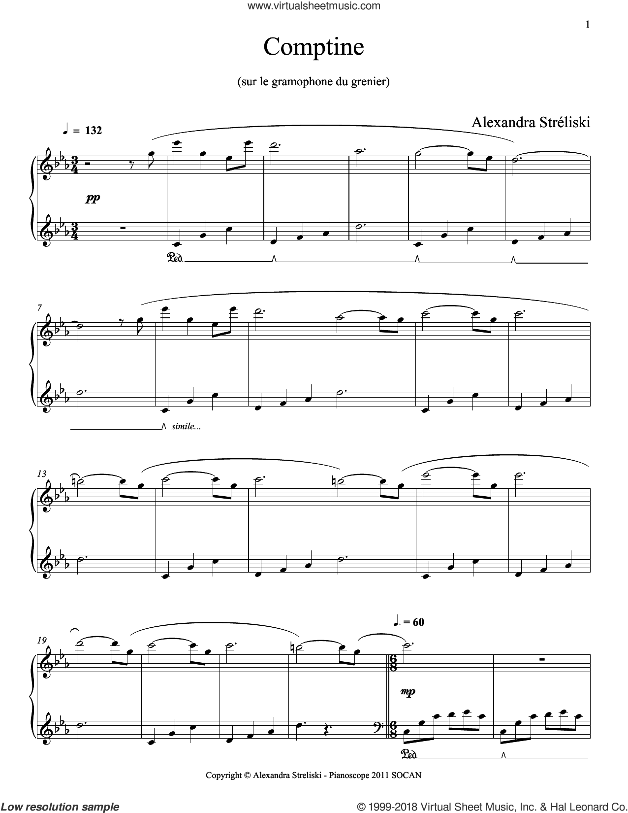 Comptine sheet music for piano solo by Alexandra Streliski, classical score, intermediate skill level