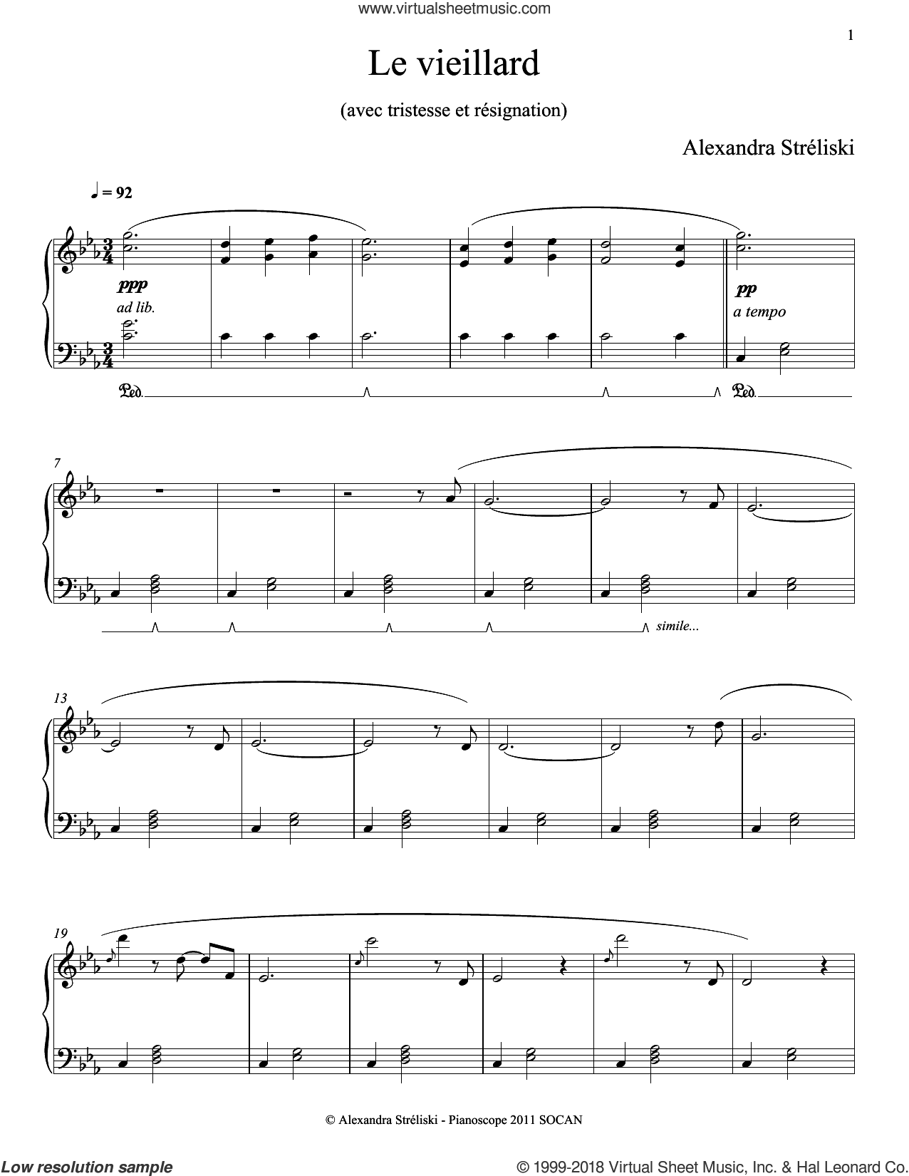 Le vieillard sheet music for piano solo by Alexandra Streliski, classical score, intermediate piano. Score Image Preview.