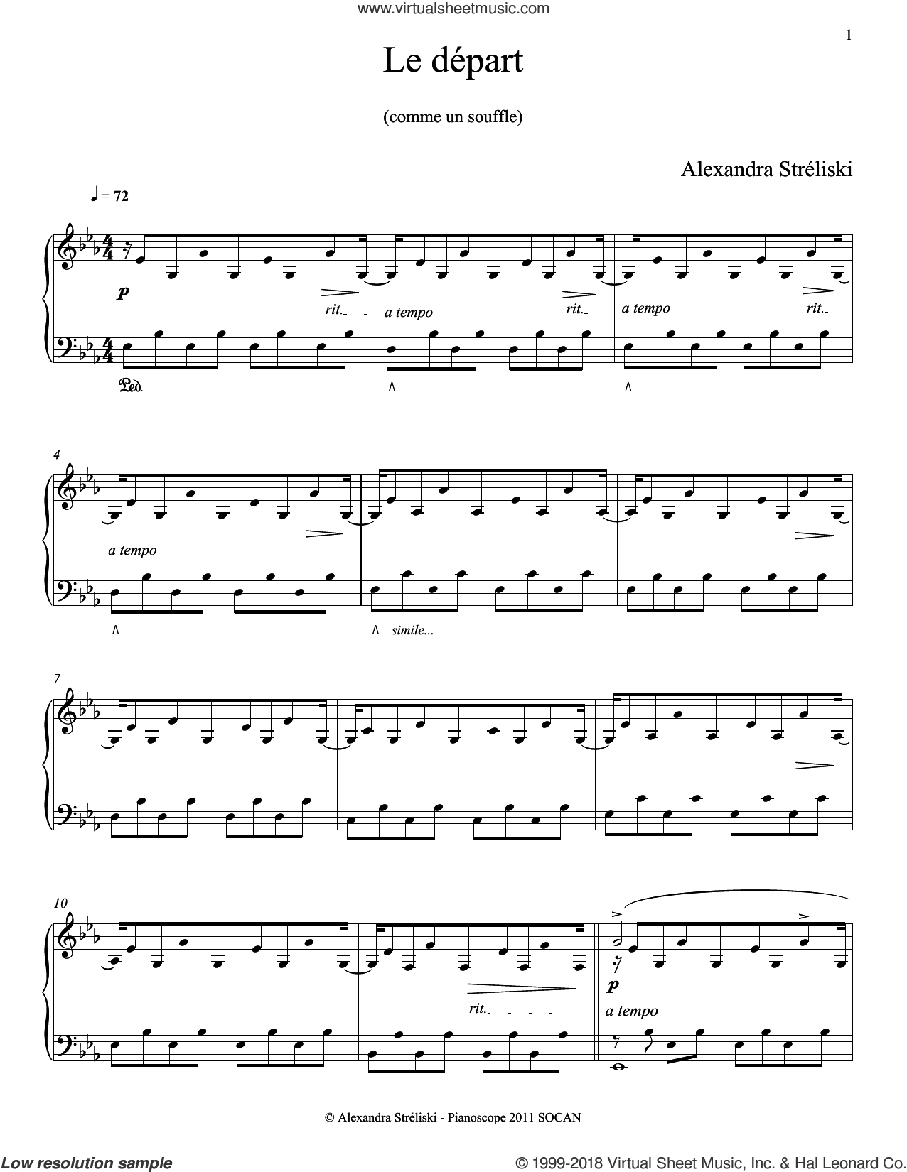 Le depart sheet music for piano solo by Alexandra Streliski, classical score, intermediate skill level