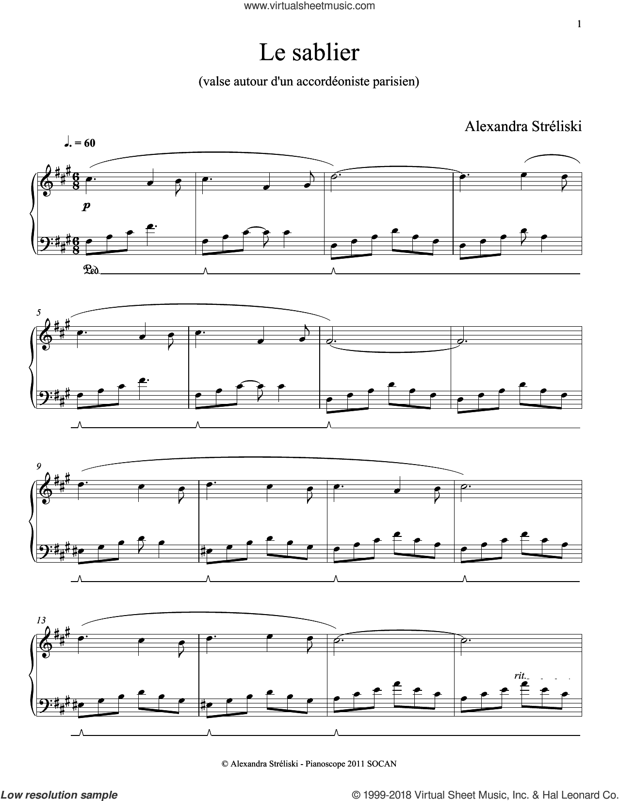 Le sablier sheet music for piano solo by Alexandra Streliski, classical score, intermediate skill level
