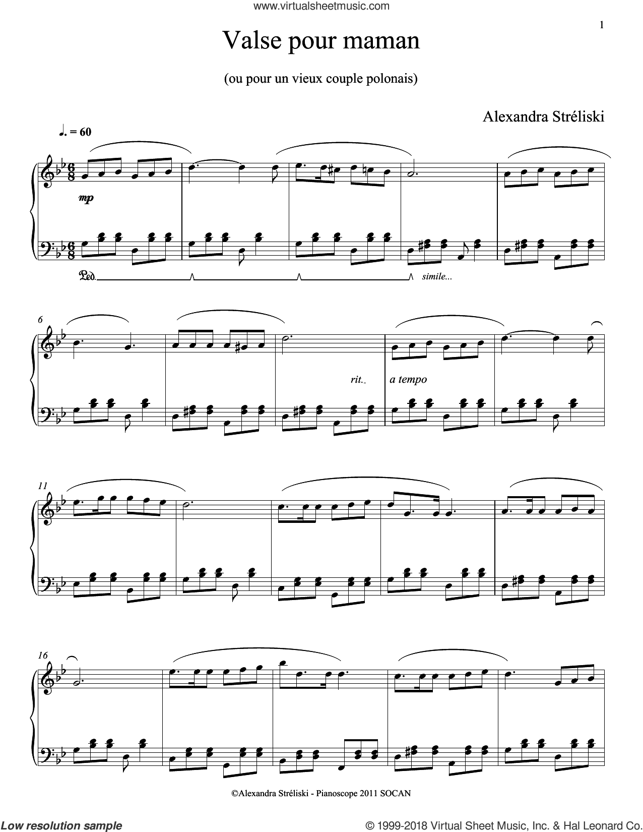 Valse pour maman sheet music for piano solo by Alexandra Streliski, classical score, intermediate skill level