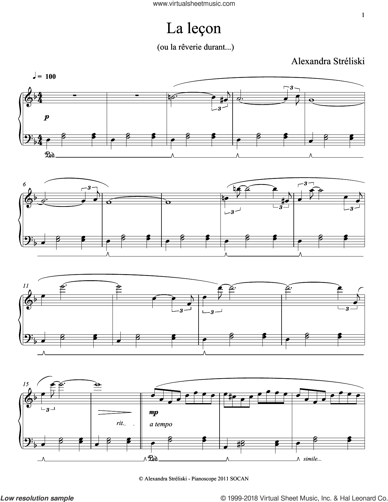 La lecon sheet music for piano solo by Alexandra Streliski, classical score, intermediate