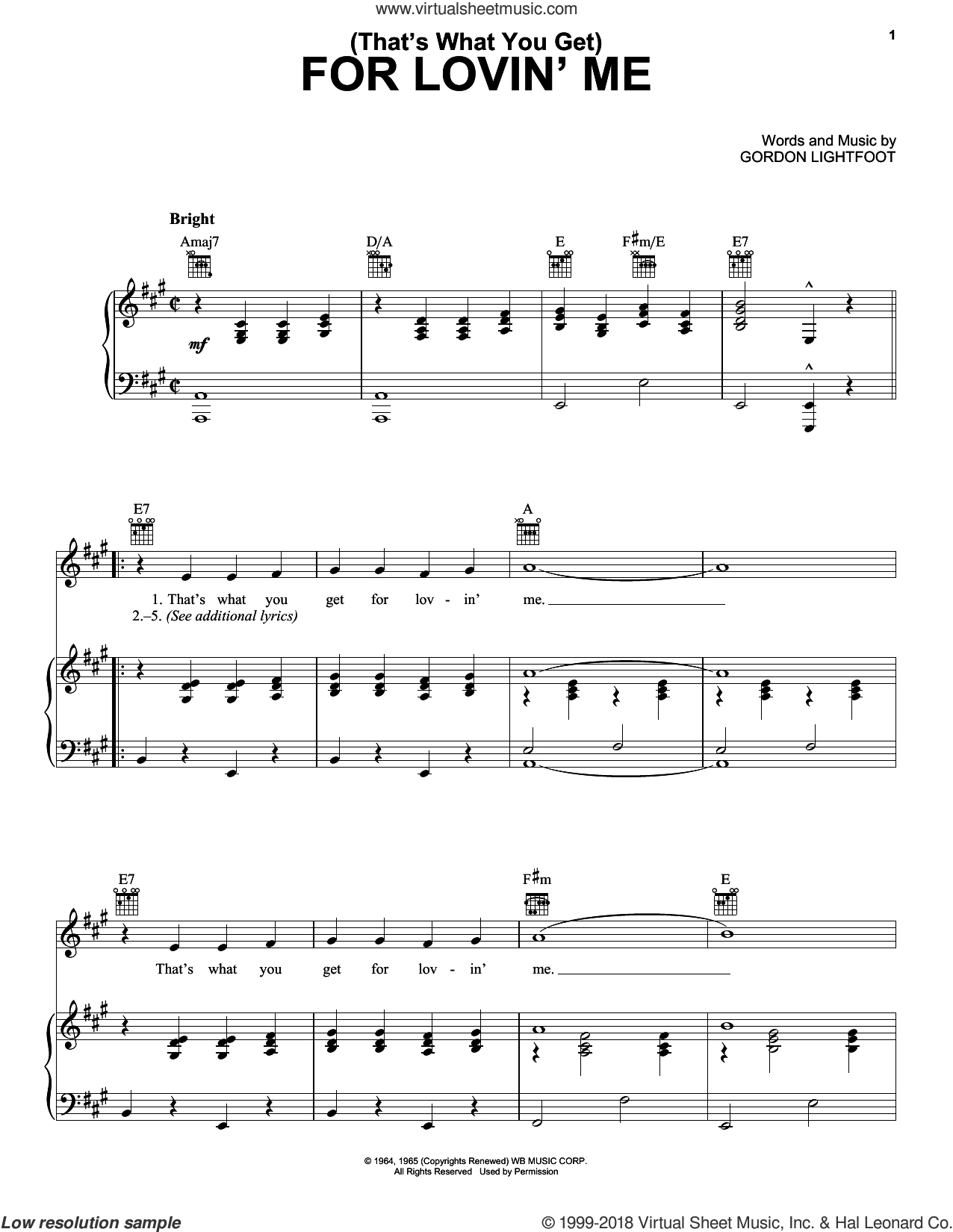 (That's What You Get) For Lovin' Me sheet music for voice, piano or guitar by Peter, Paul & Mary and Gordon Lightfoot, intermediate skill level