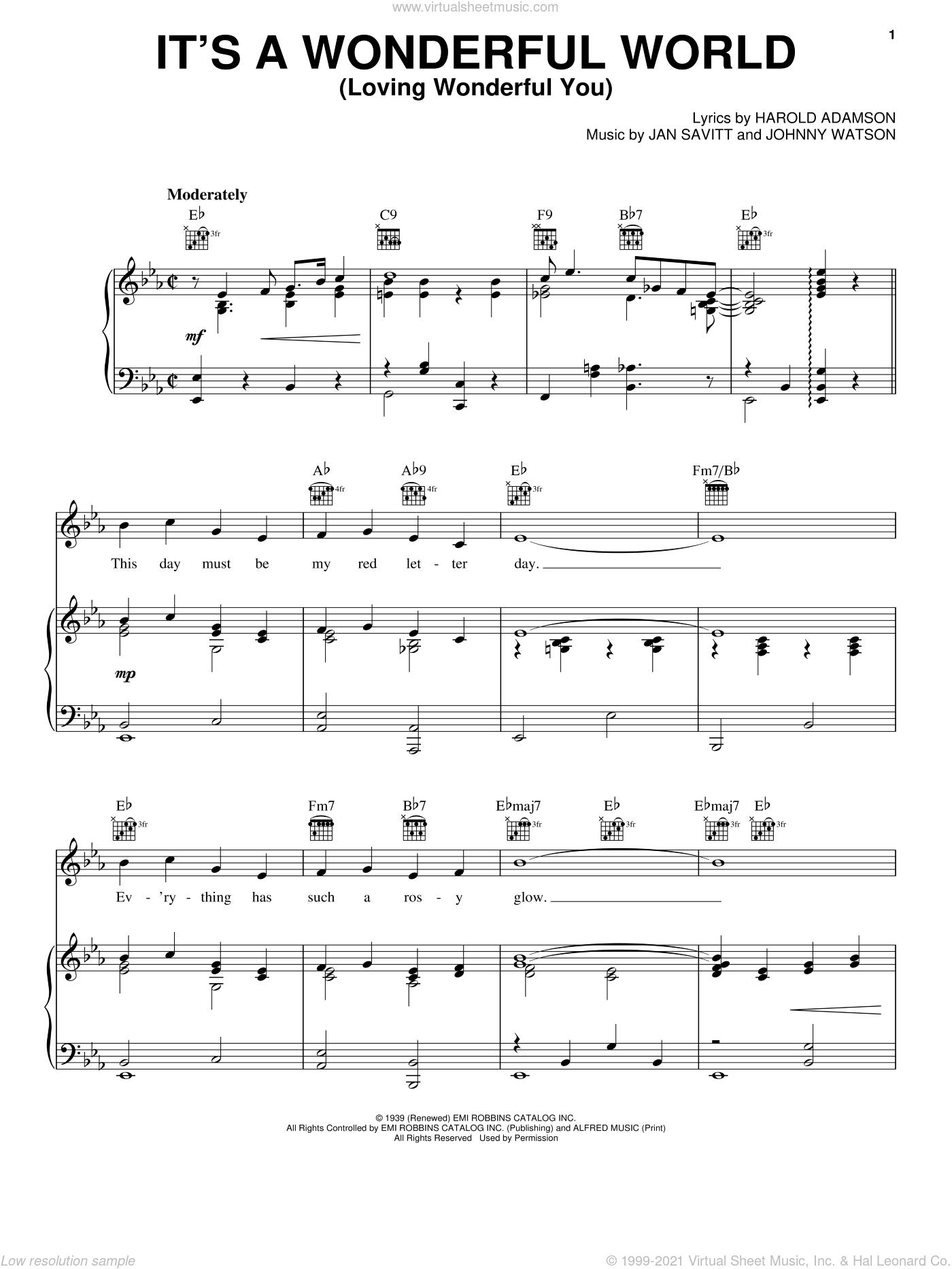It's A Wonderful World (Loving Wonderful You) sheet music for voice, piano or guitar by Frank Sinatra, Harold Adamson, Jan Savitt and Johnny Watson, intermediate skill level