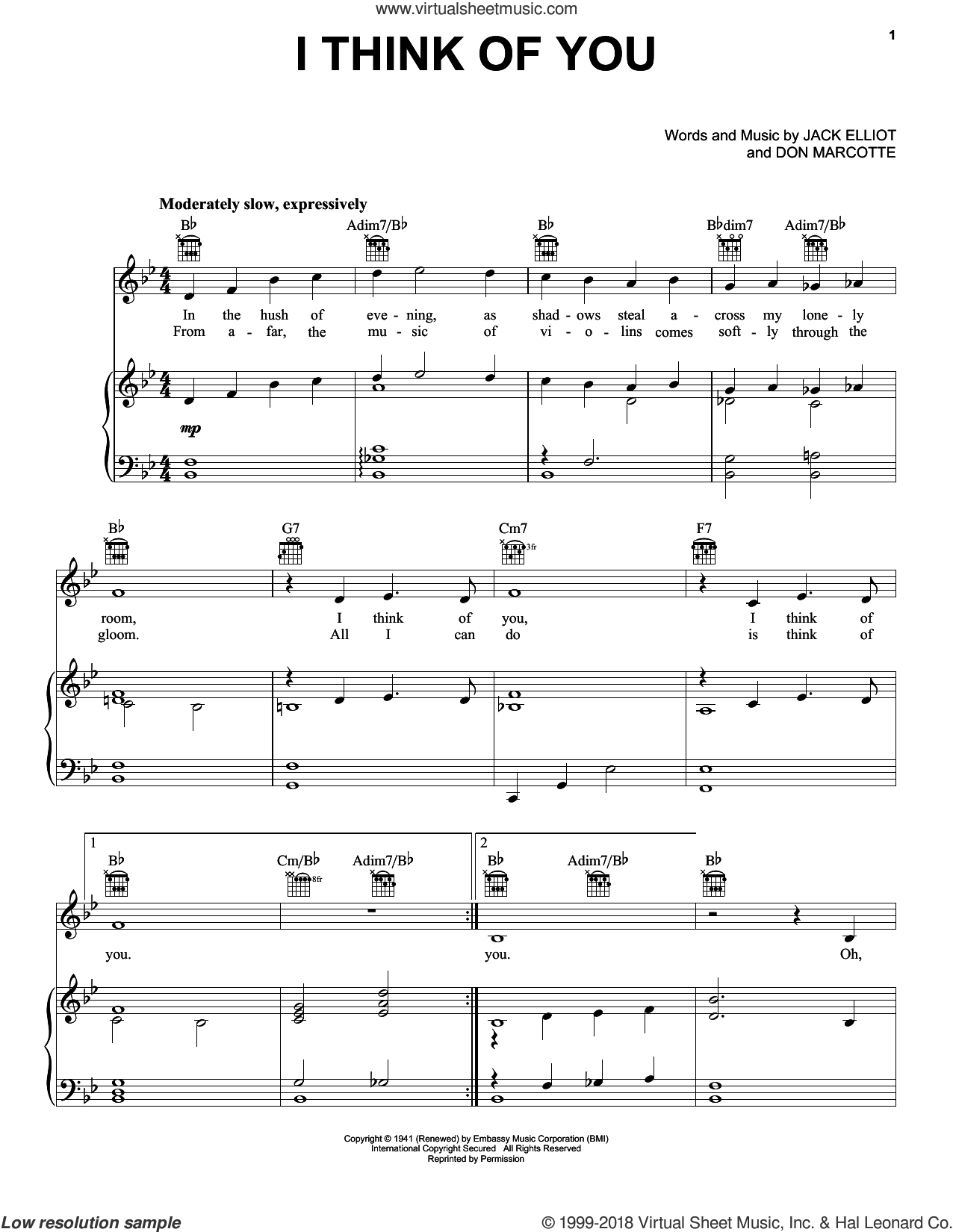 I Think Of You sheet music for voice, piano or guitar by Frank Sinatra, Don Marcotte and Jack Elliot, intermediate skill level