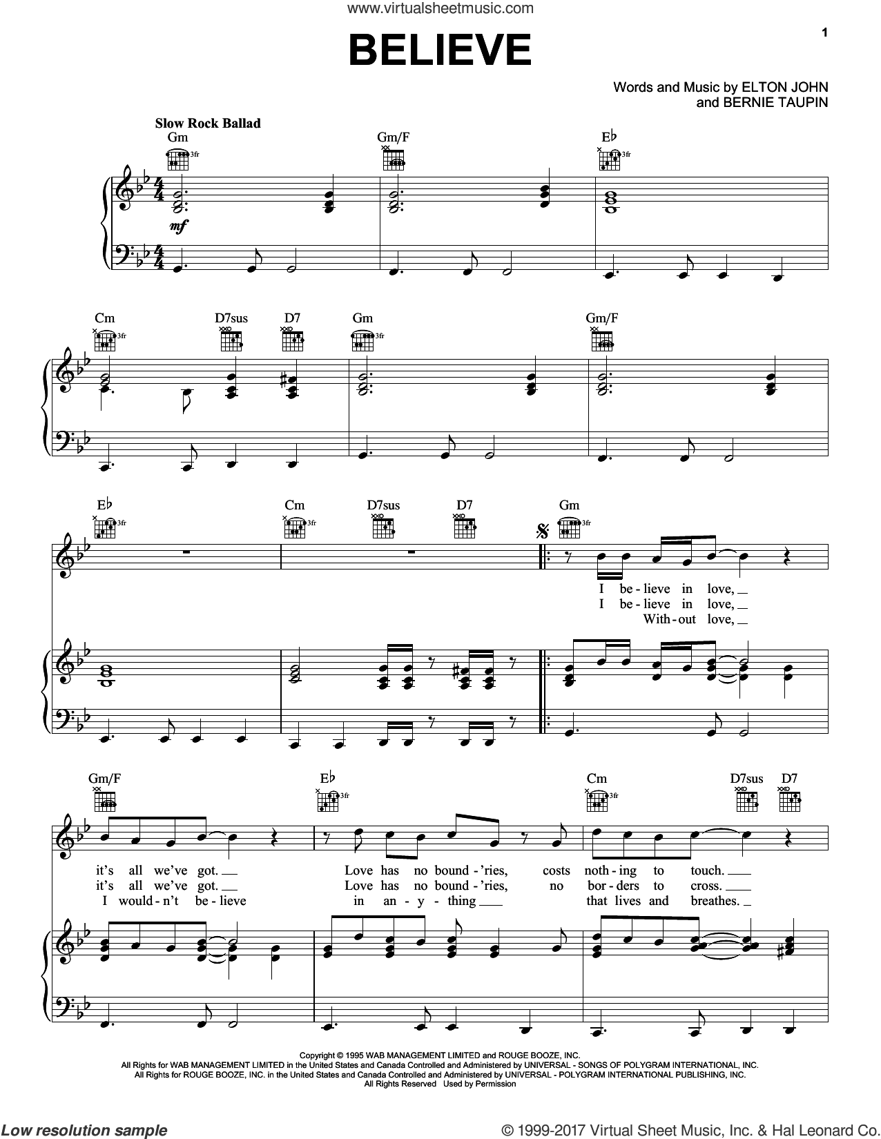 Believe sheet music for voice, piano or guitar by Elton John and Bernie Taupin, intermediate skill level