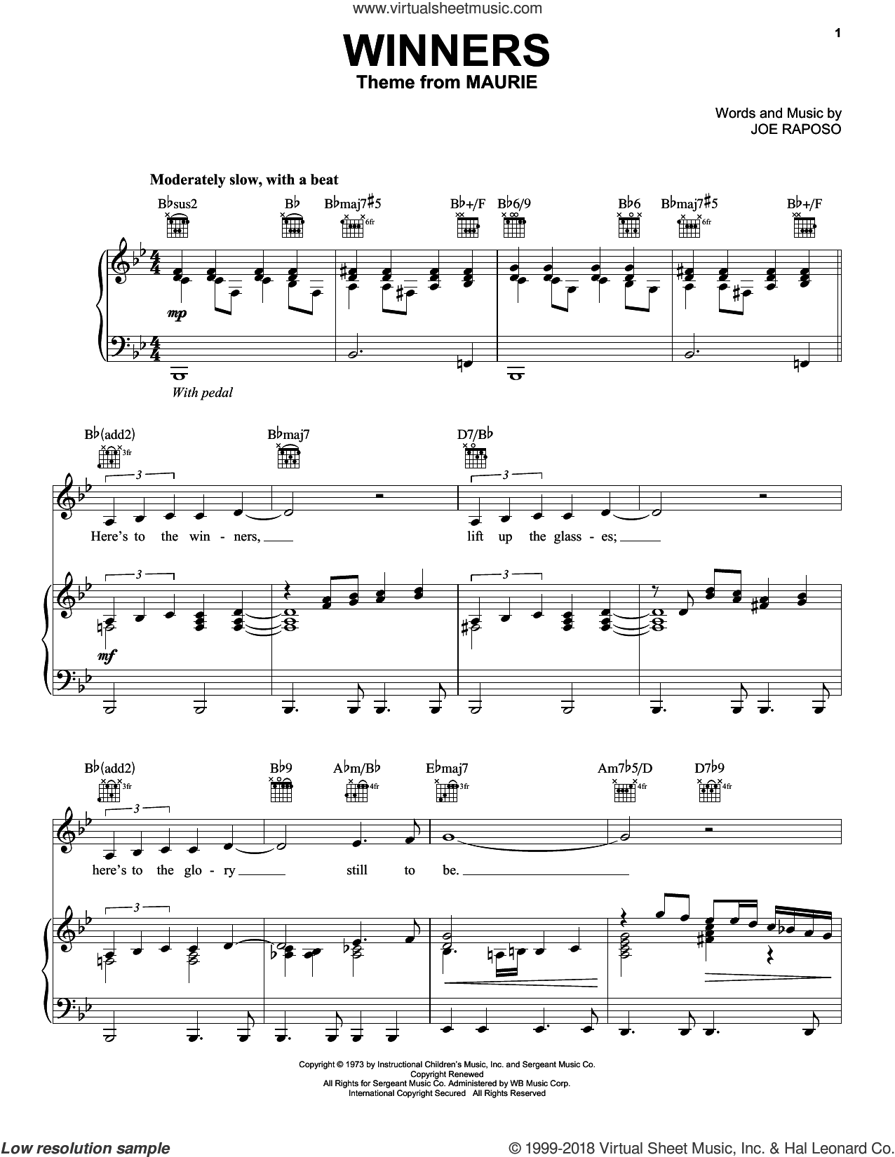 Winners sheet music for voice, piano or guitar by Frank Sinatra and Joe Raposo, intermediate. Score Image Preview.
