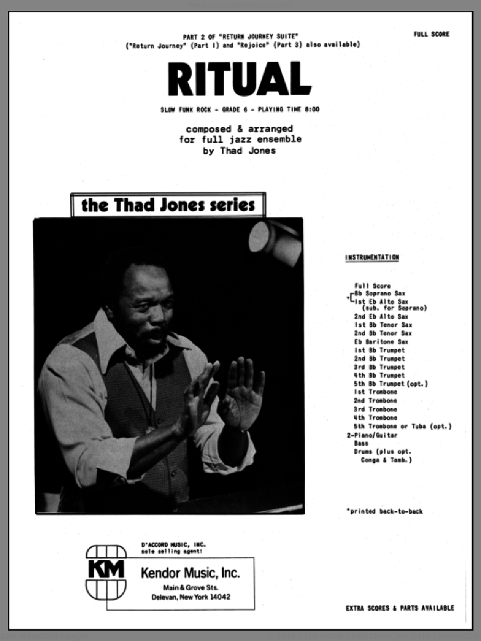 Ritual (COMPLETE) sheet music for jazz band by Thad Jones, intermediate