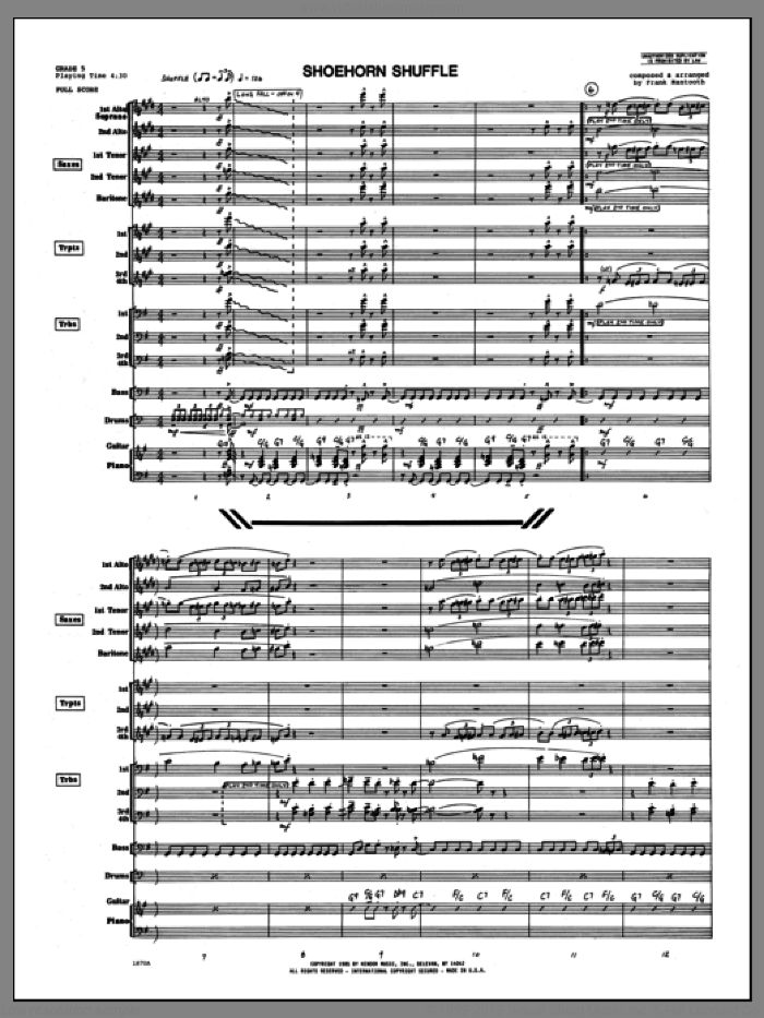 Shoehorn Shuffle (COMPLETE) sheet music for jazz band by Frank Mantooth, intermediate skill level