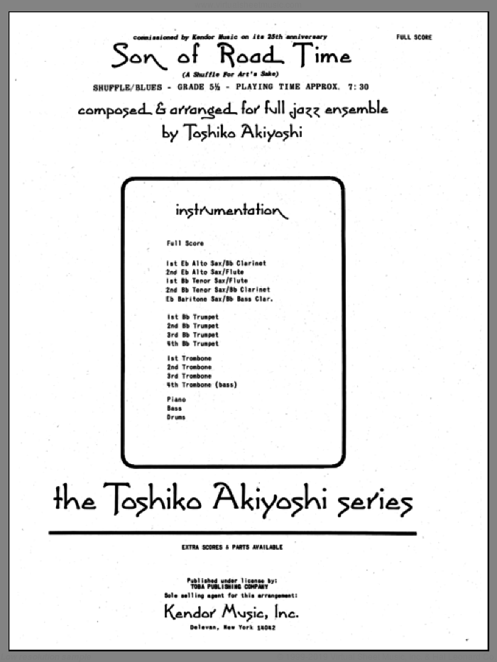Son Of Road Time (COMPLETE) sheet music for jazz band by Toshiko Akiyoshi, intermediate skill level