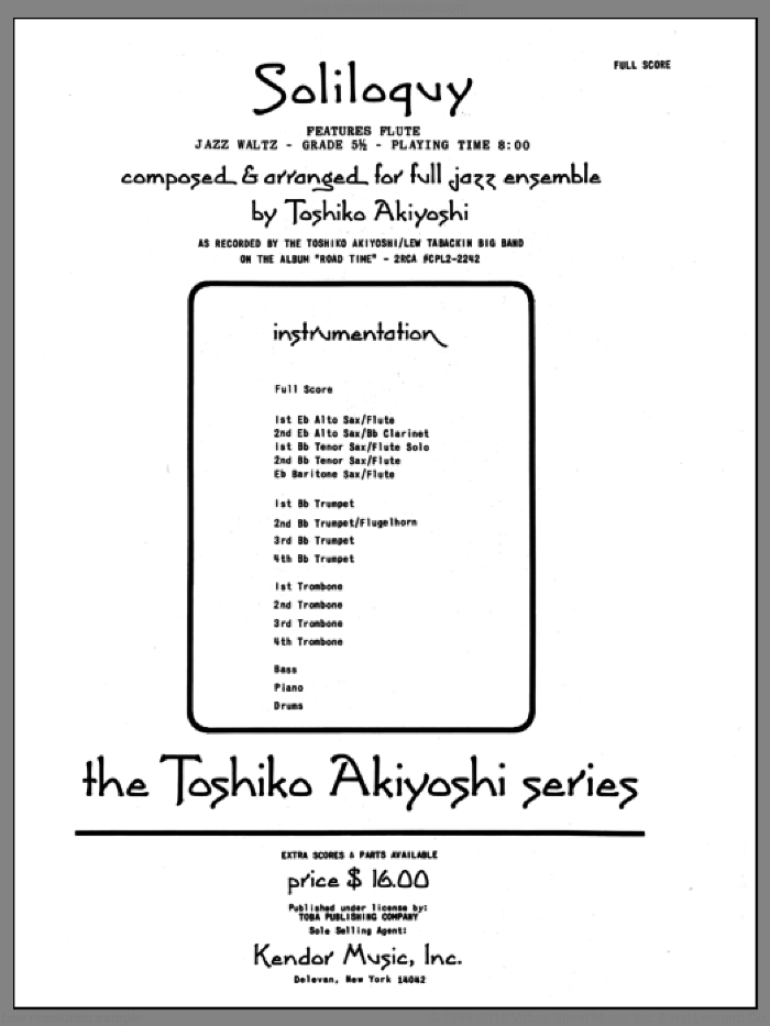 Soliloquy (COMPLETE) sheet music for jazz band by Toshiko Akiyoshi, intermediate skill level